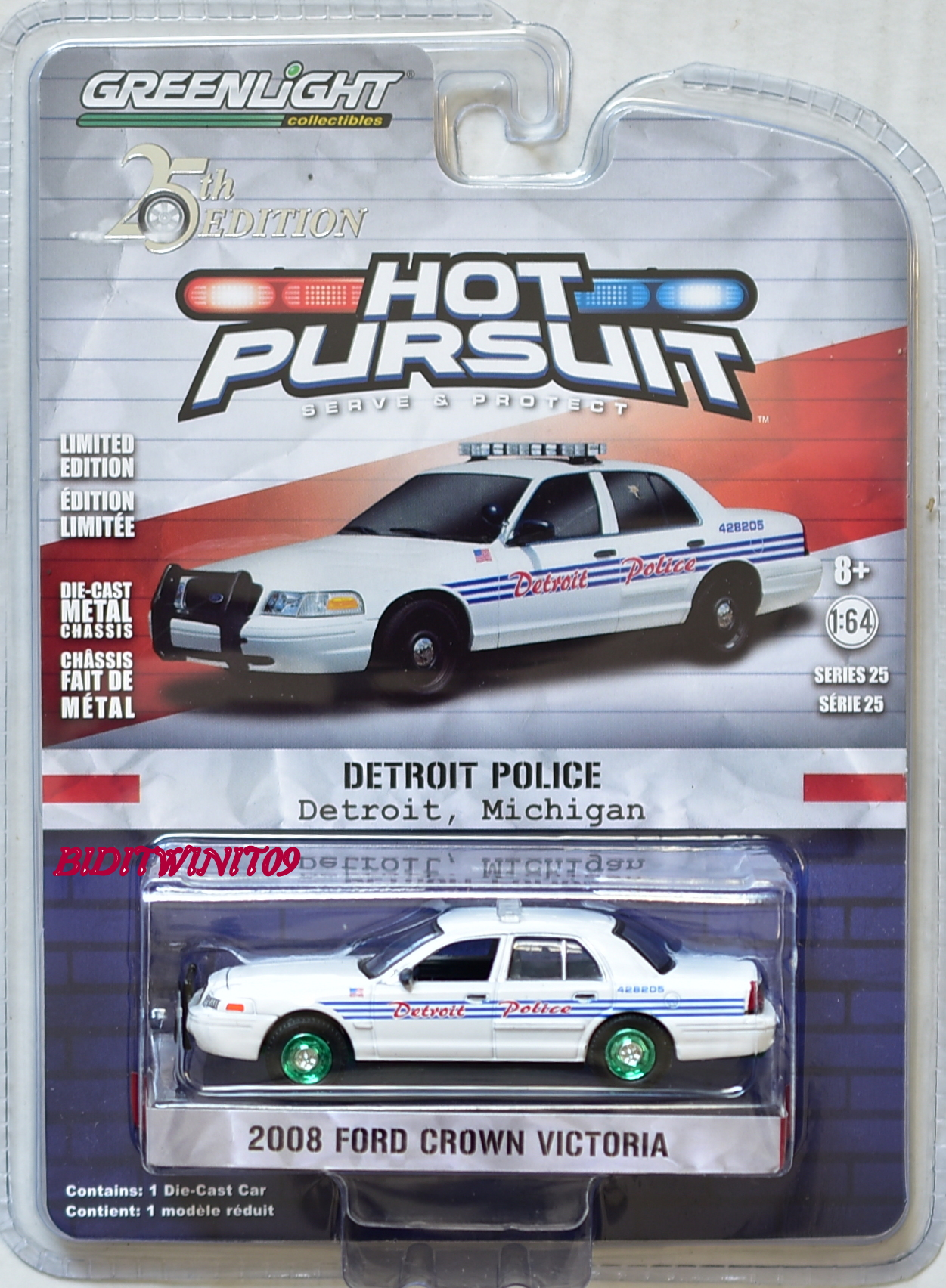 GREENLIGHT 2018 HOT PURSUIT SERIES 25 2008 FORD CROWN VICTORIA GREEN MACHINE