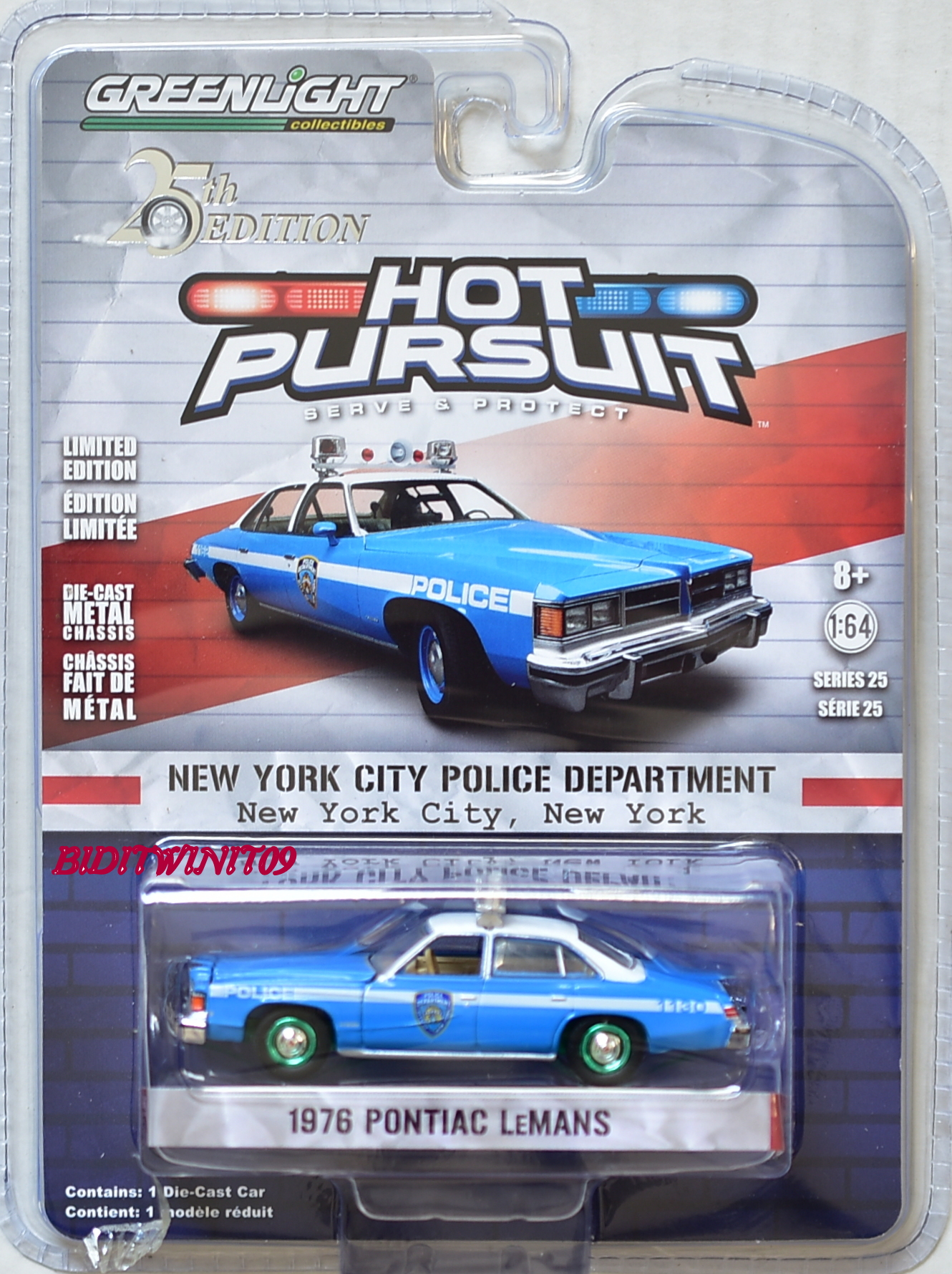 GREENLIGHT 2018 HOT PURSUIT SERIES 25 1976 PONTIAC LEMANS GREEN MACHINE E+