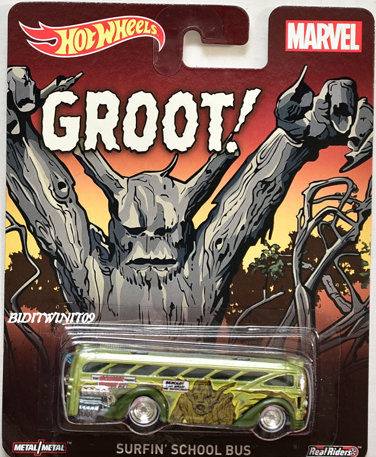 HOT WHEELS POP CULTURE MARVEL GROOT - SURFIN' SCHOOL BUS