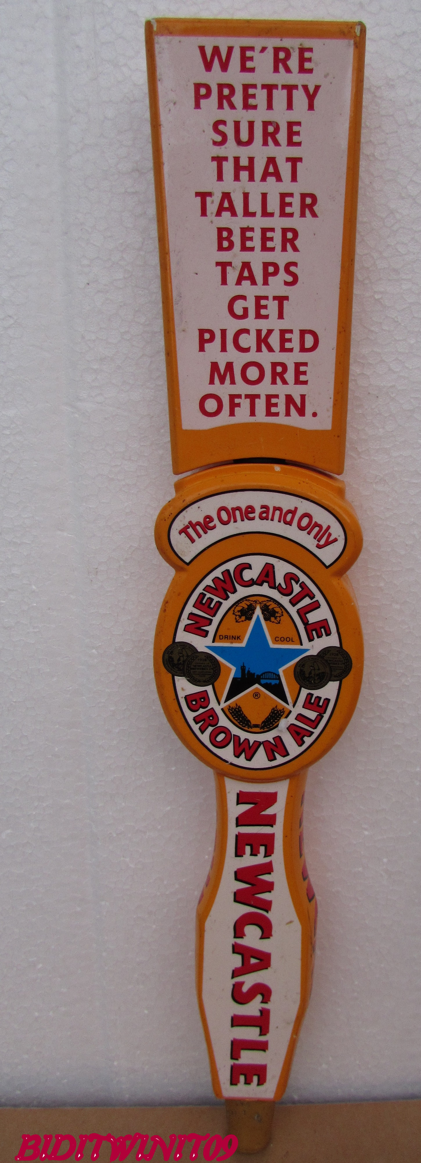 BEER TAP HANDLE NEWCASTLE BROWN ALE W/ TALLER TOPPER E+