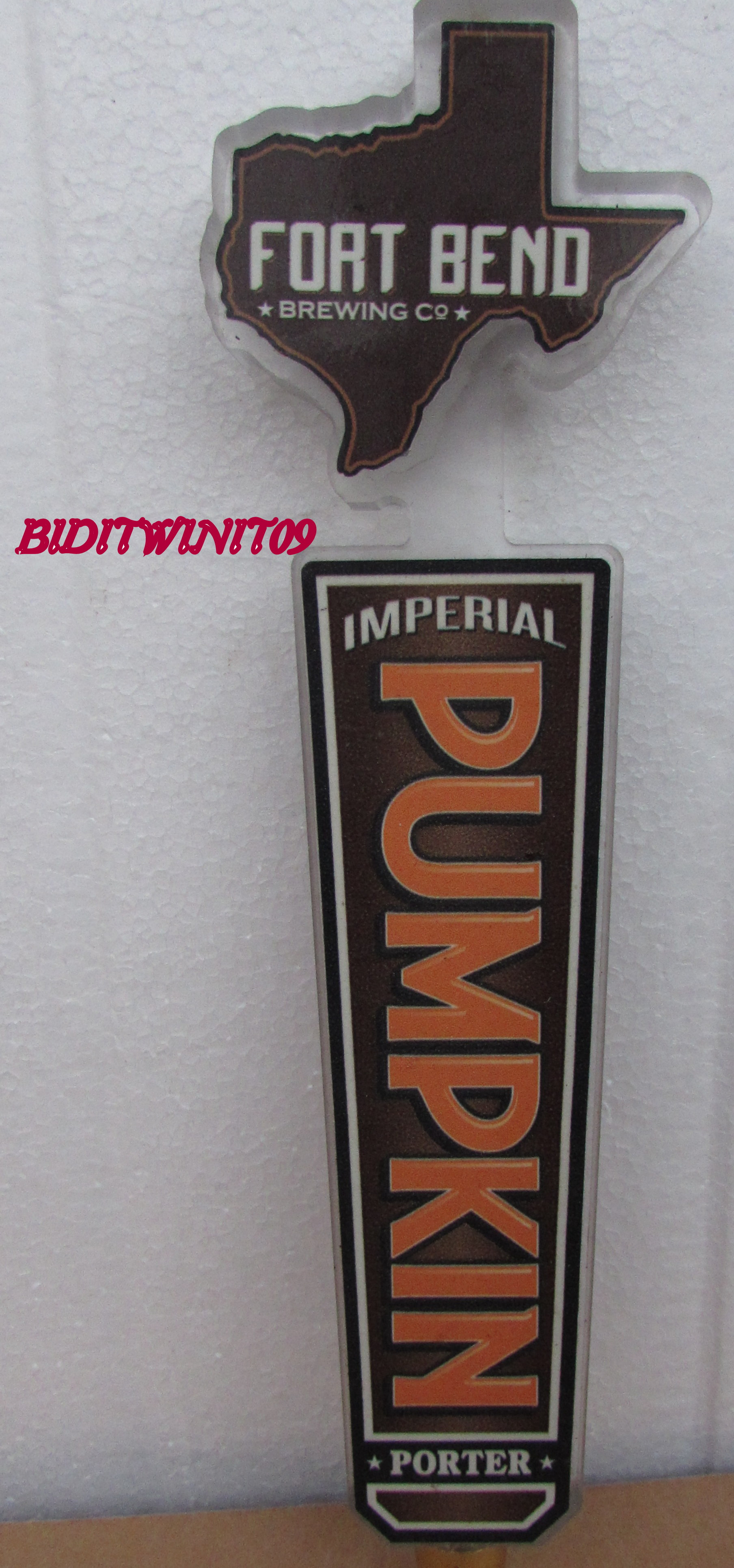 BEER TAP HANDLE IMPERIAL PORTER FORT BEND PUMPKIN E+