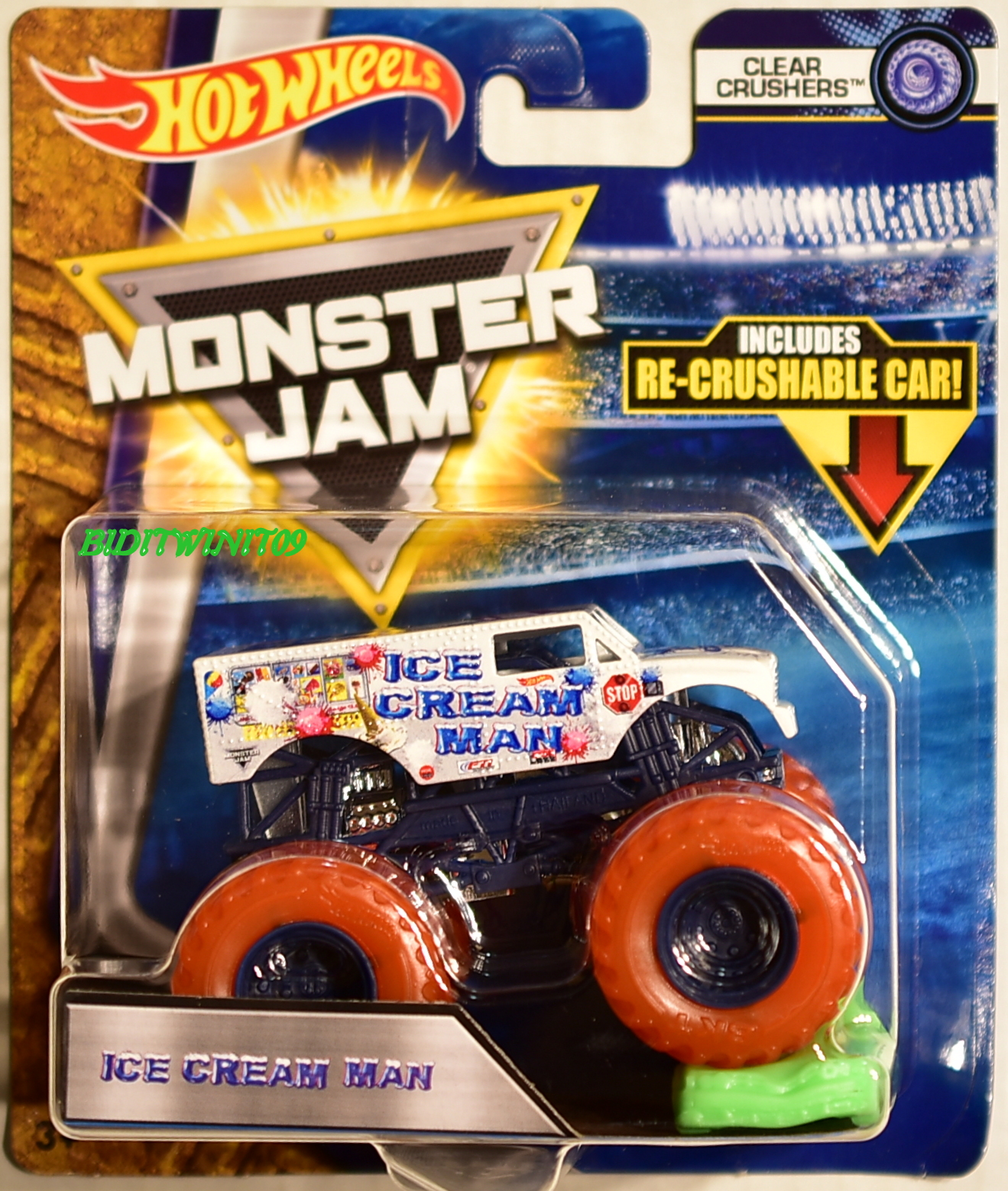 HOT WHEELS 2018 MONSTER JAM CLEAR CRUSHERS ICE CREAM MAN