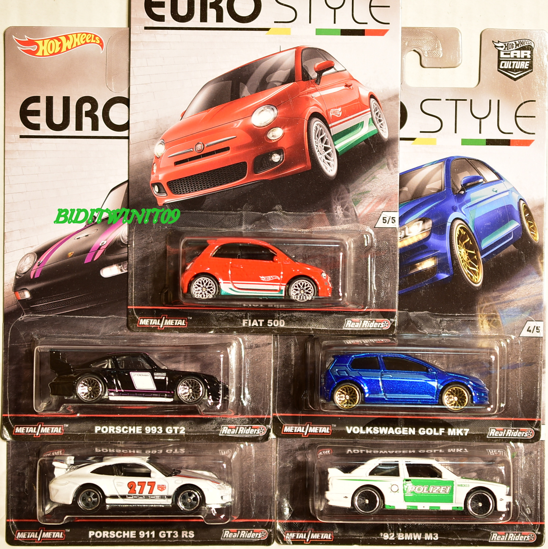 HOT WHEELS 2016 CAR CULTURE EURO STYLE COMPLETE SET OF 5 BMW FIAT PORSCHE