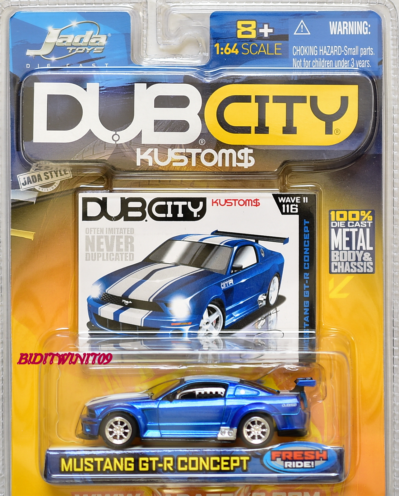 JADA TOYS DUB CITY KUSTOMS WAVE II MUSTANG GT CONCEPT FRESH RIDE #116 1:64 E+