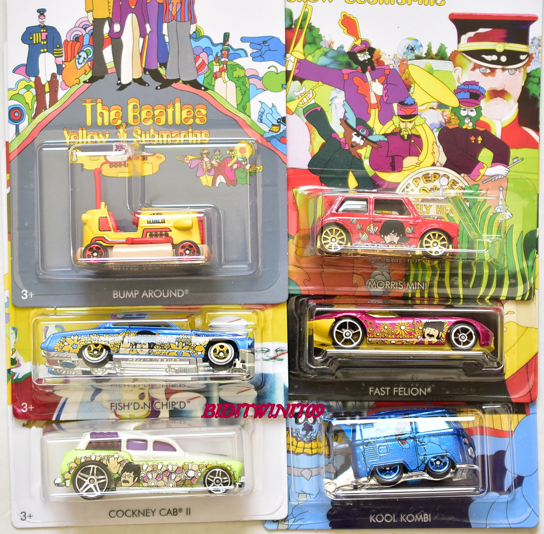 HOT WHEELS THE BEATLES 2016 YELLOW SUBMARINE COMPLETE SET OF 6 MORRIS MINI KOMBI