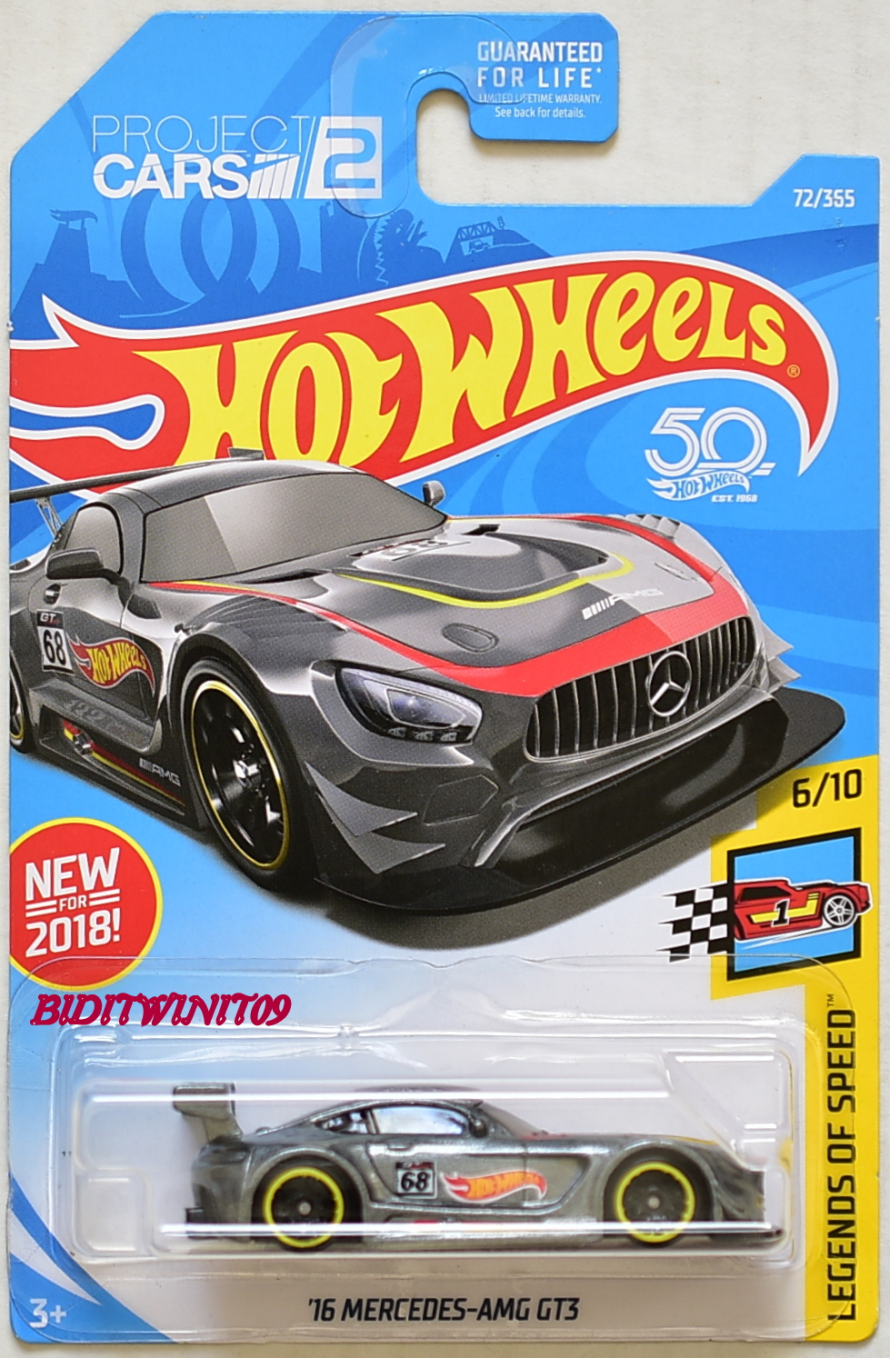 HOT WHEELS 2018 LEGENDS OF SPEED '16 MERCEDES-AMG GT3 #6/10 GREY