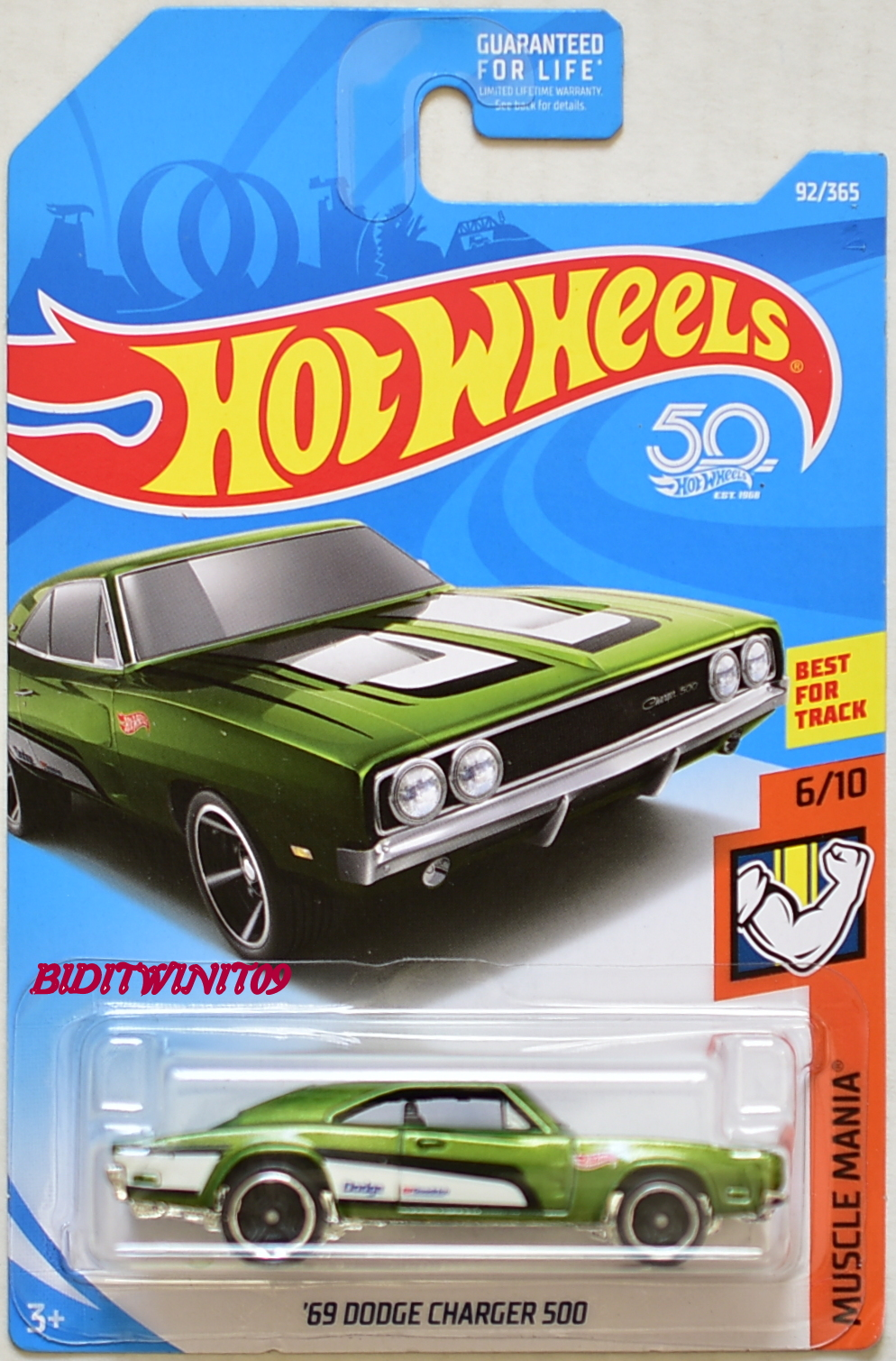 HOT WHEELS 2018 MUSCLE MANIA '69 DODGE CHARGER 500 #6/10 GREEN