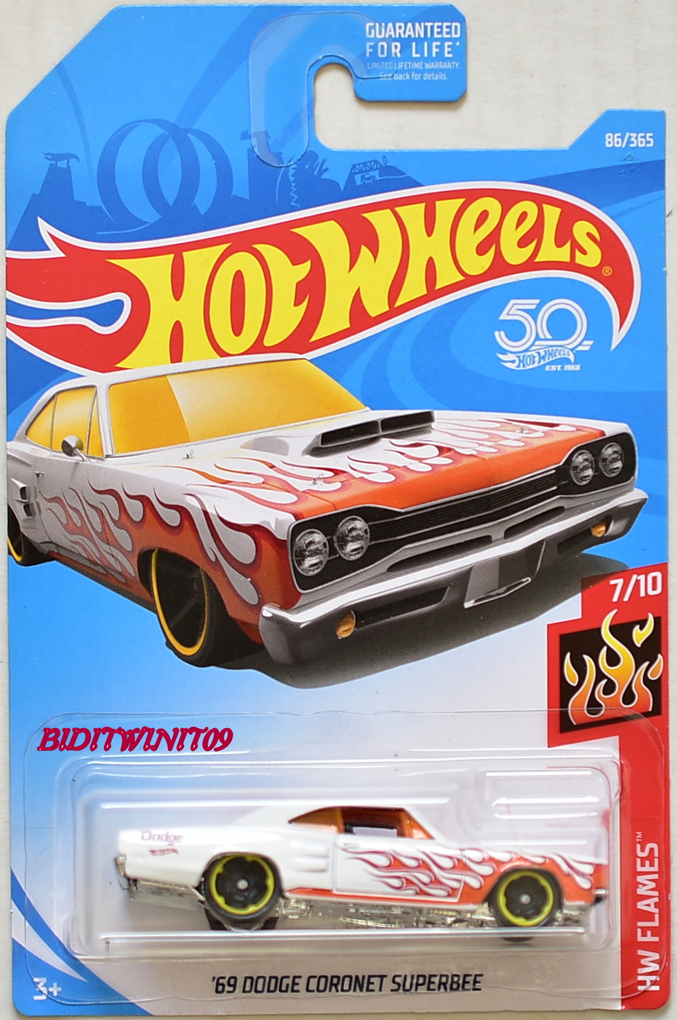 HOT WHEELS 2018 HW FLAME '69 DODGE CORONET SUPERBEE #7/10 WHITE