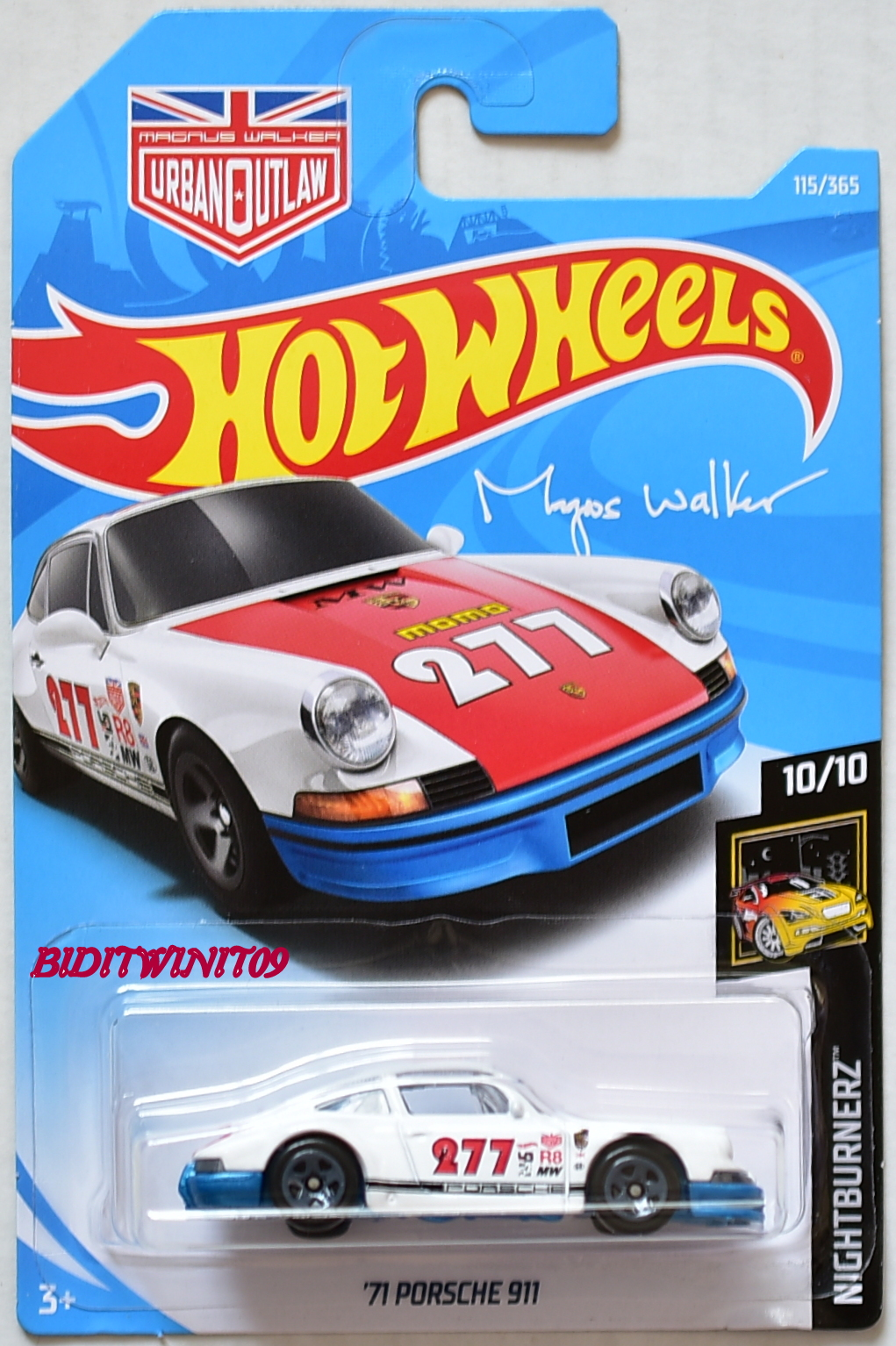 HOT WHEELS 2018 NIGHTBURNERZ '71 PORSCHE 911 WHITE