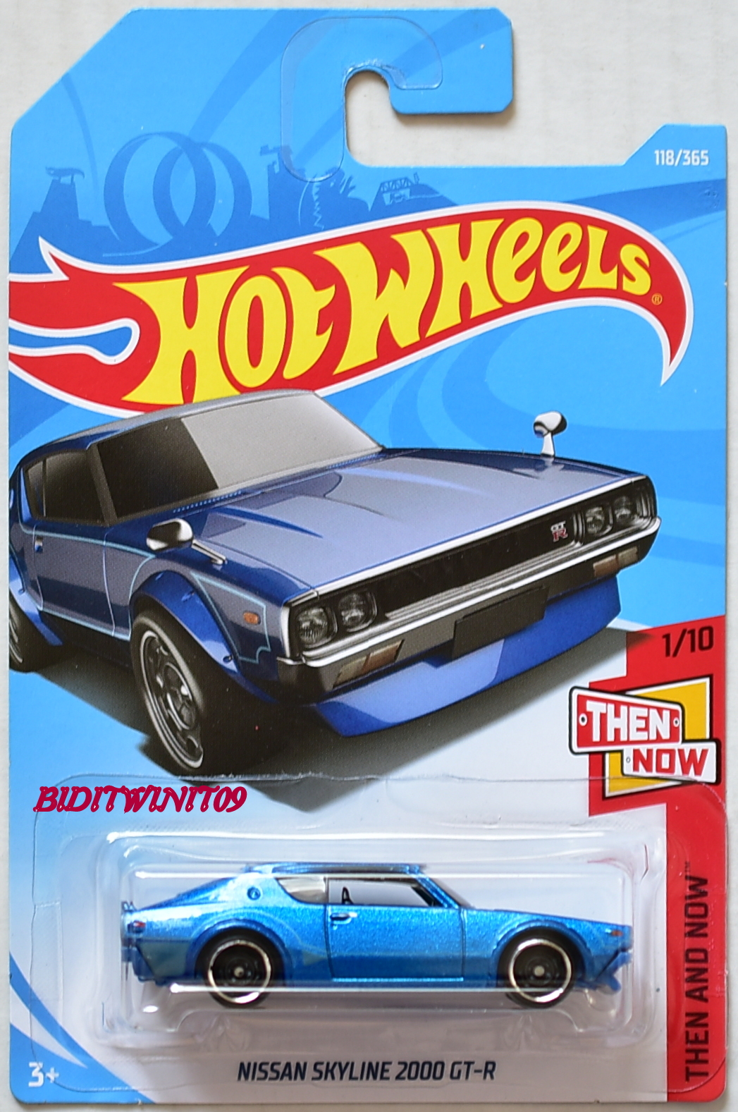 HOT WHEELS 2018 THEN AND NOW NISSAN SKYLINE 2000 GT-X #1/10 BLUE