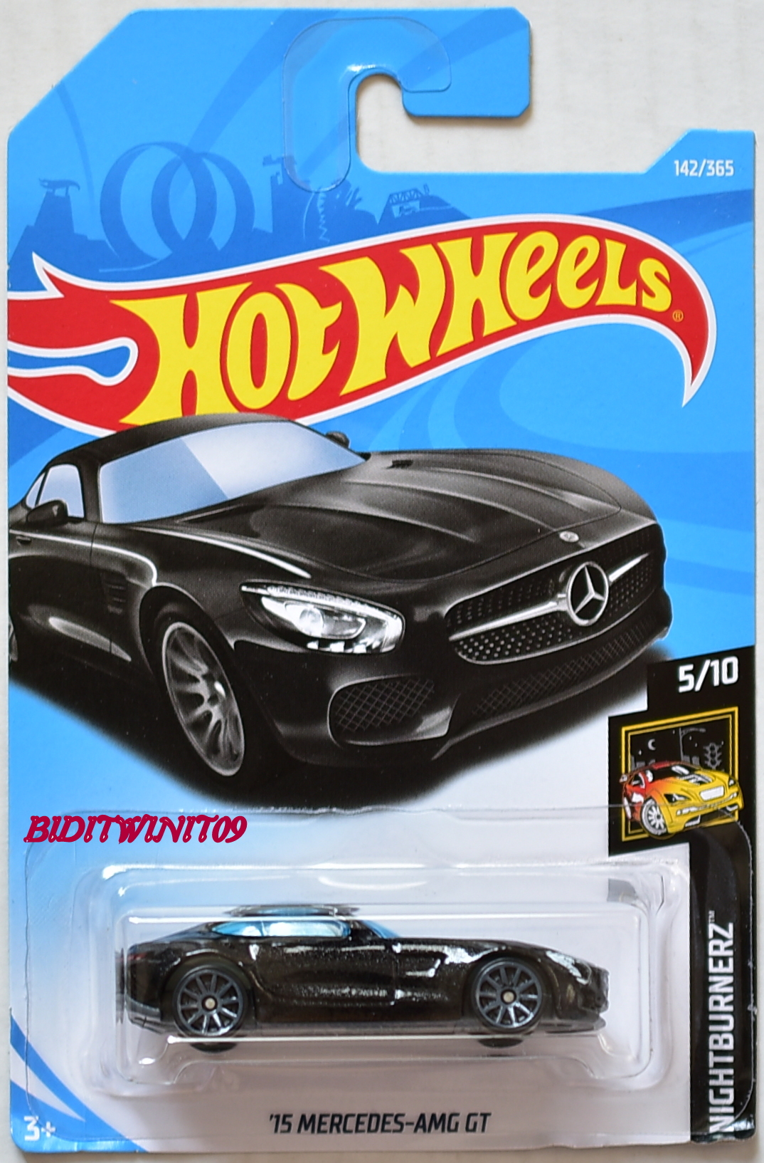 hot wheels 2018 nightburnerz 39 15 mercedes amg gt 5 10 black 0007961 biditwinit09. Black Bedroom Furniture Sets. Home Design Ideas