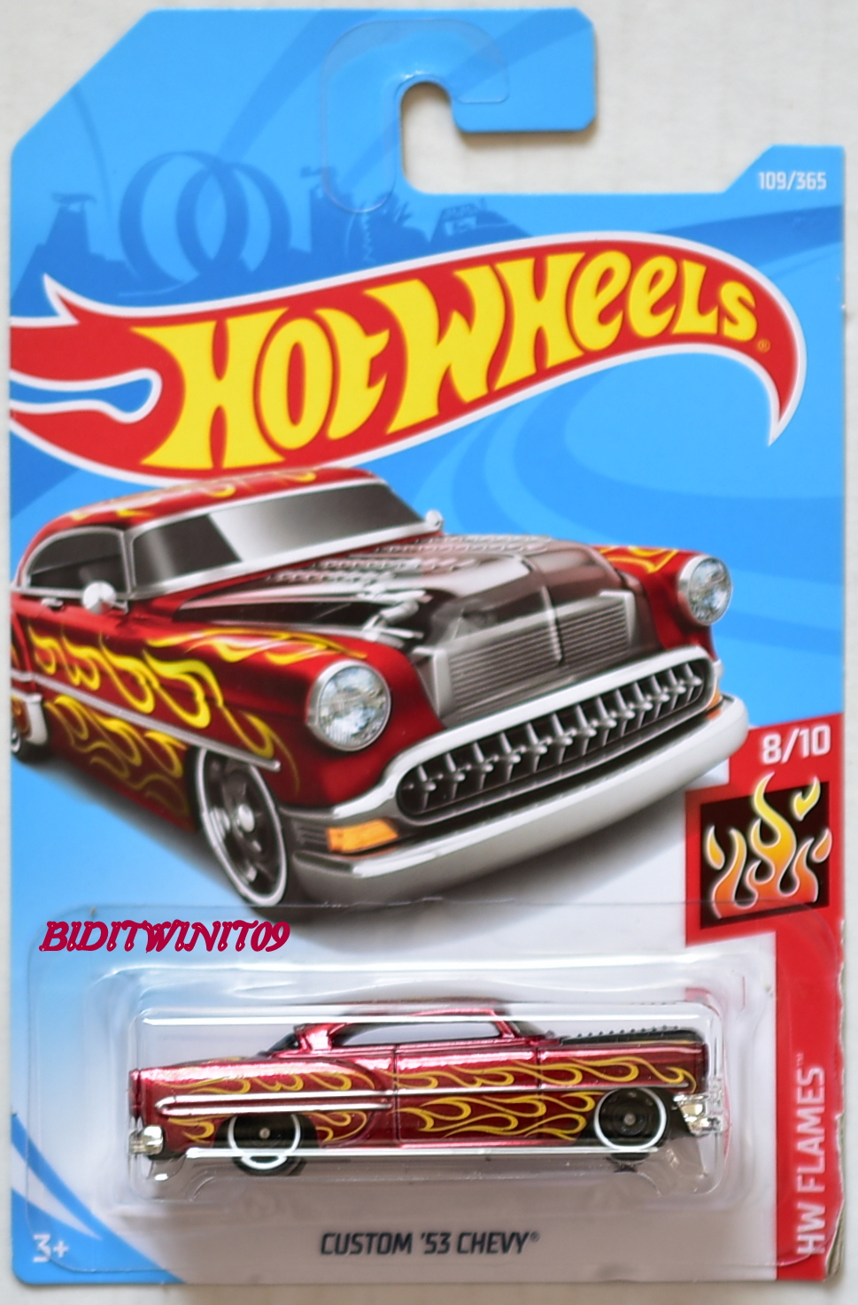HOT WHEELS 2018 HW FLAMES CUSTOM '53 CHEVY RED