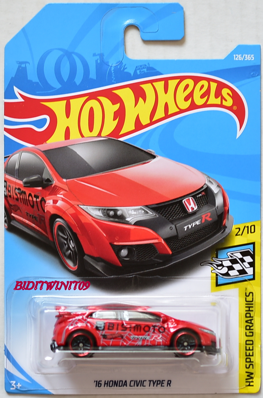HOT WHEELS 2018 HW SPEED GRAPHICS '16 HONDA CIVIC TYPE R #2/10 RED