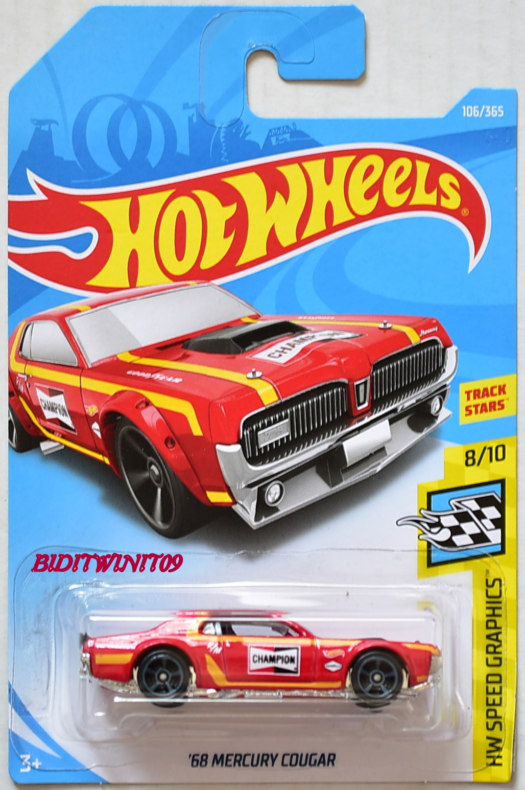 HOT WHEELS 2018 HW SPEED SRAPHICS '68 MERCURY COUGAR #8/10 RED