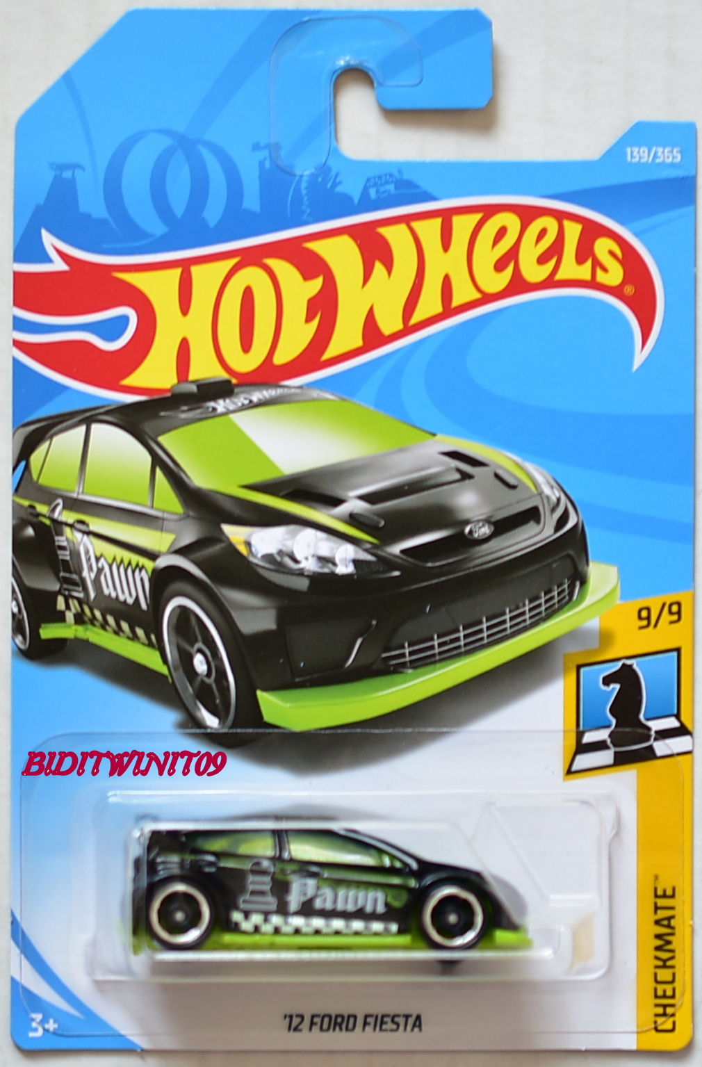 hot wheels 2018 checkmate 39 12 ford fiesta 9 9 black 0007969. Black Bedroom Furniture Sets. Home Design Ideas
