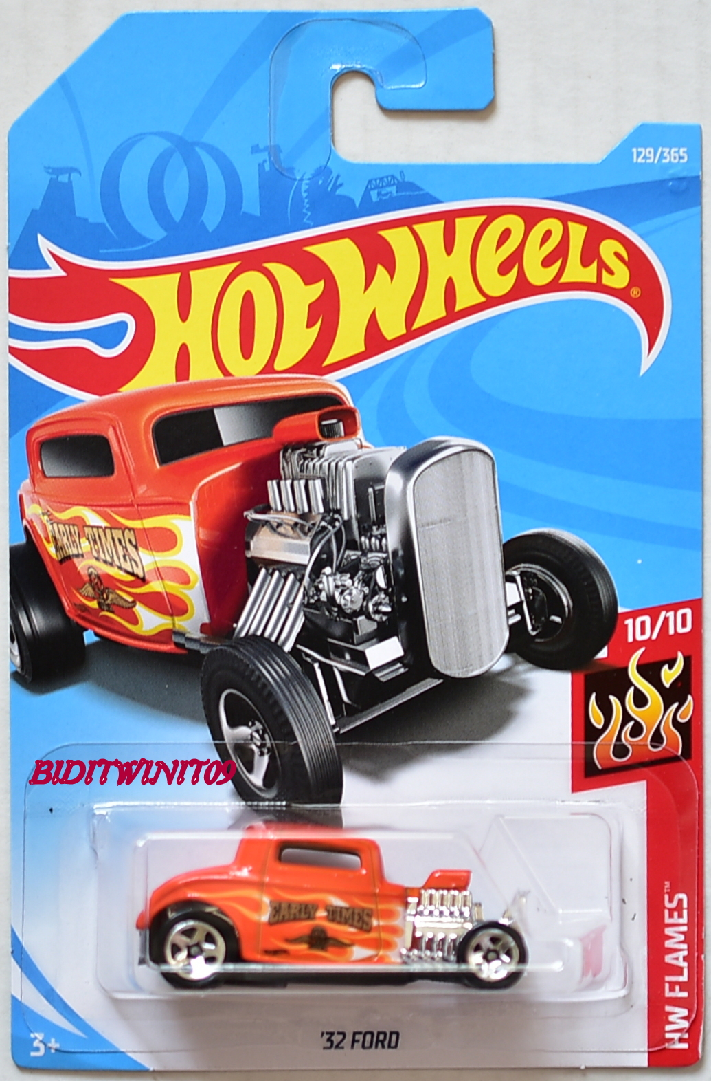 HOT WHEELS 2018 HW FLAMES '32 FORD #10/10 ORANGE