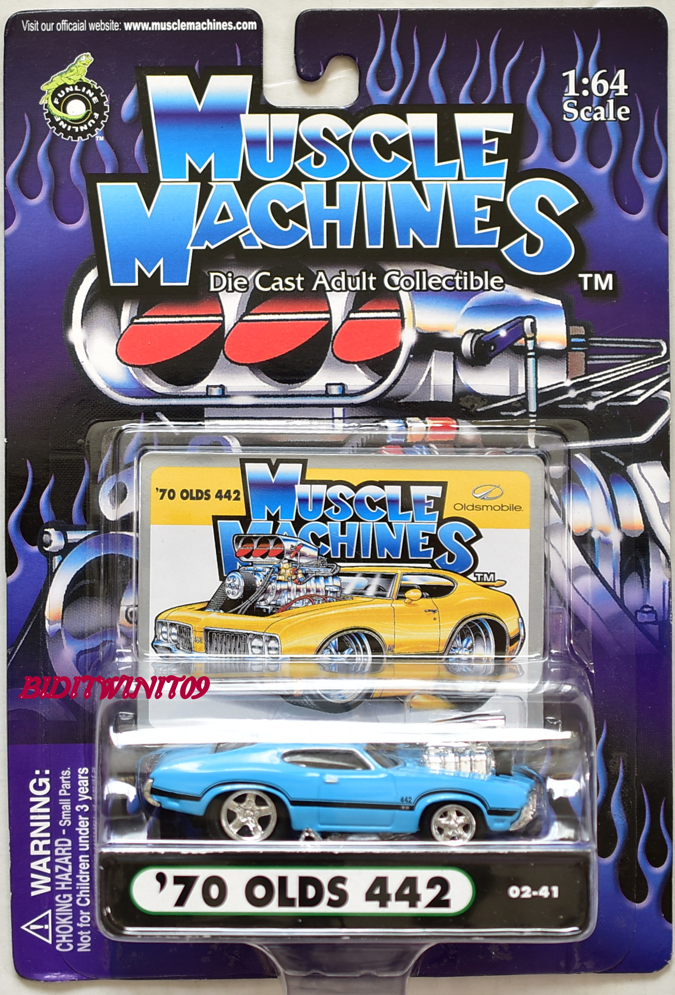 MUSCLE MACHINES '70 OLDS 442 02-41 SCALE 1:64 E+
