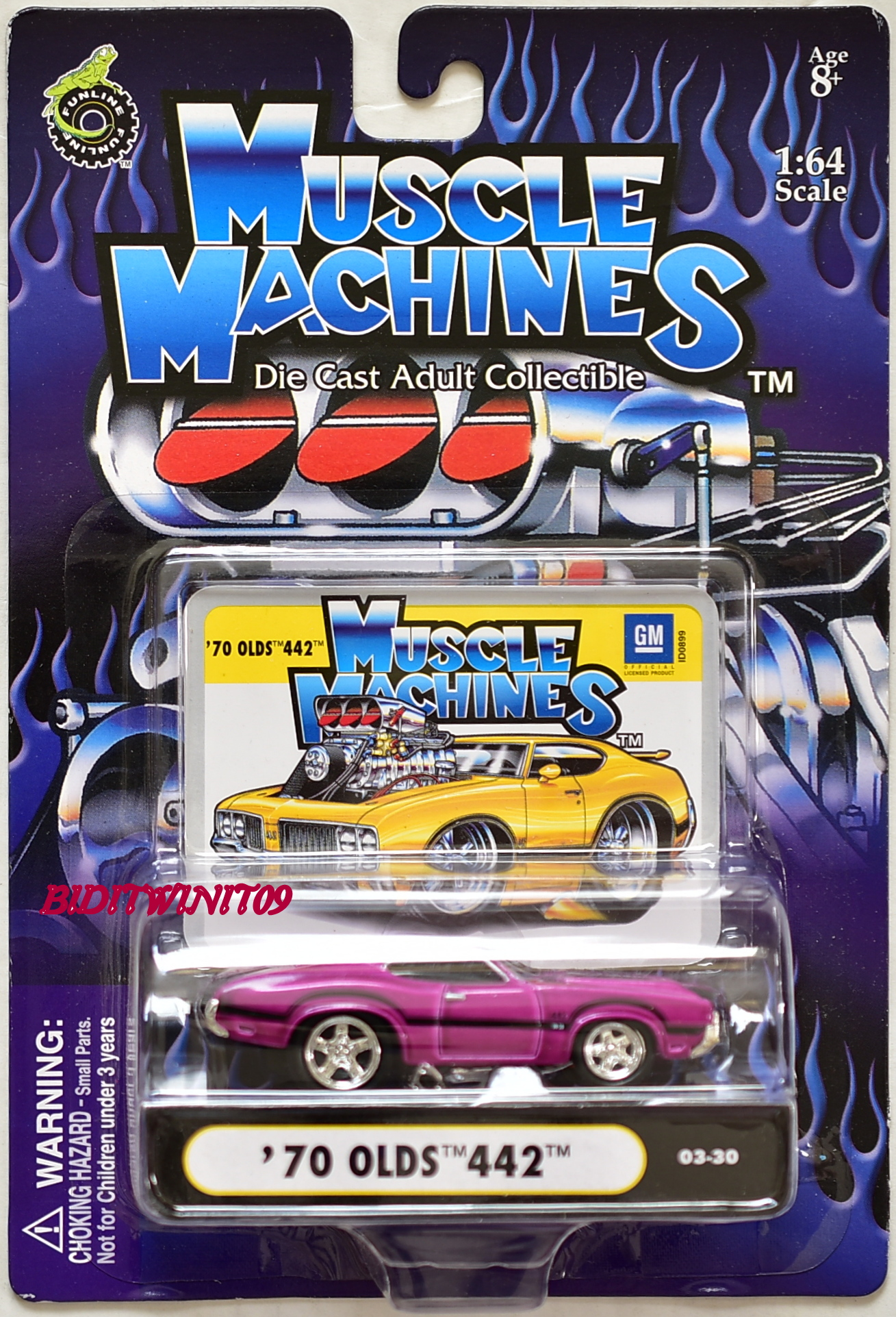 MUSCLE MACHINES '70 OLDS 442 03-30 PURPLE SCALE 1:64 E+