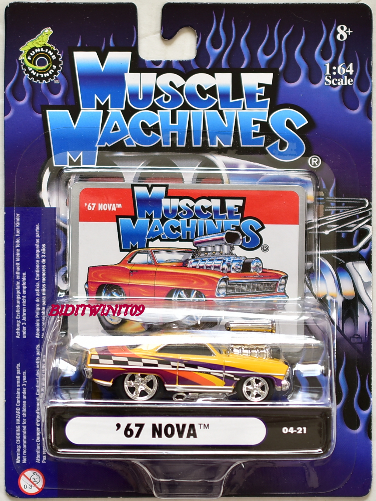 MUSCLE MACHINES '67 NOVA 04-21 YELLOW SCALE 1:64