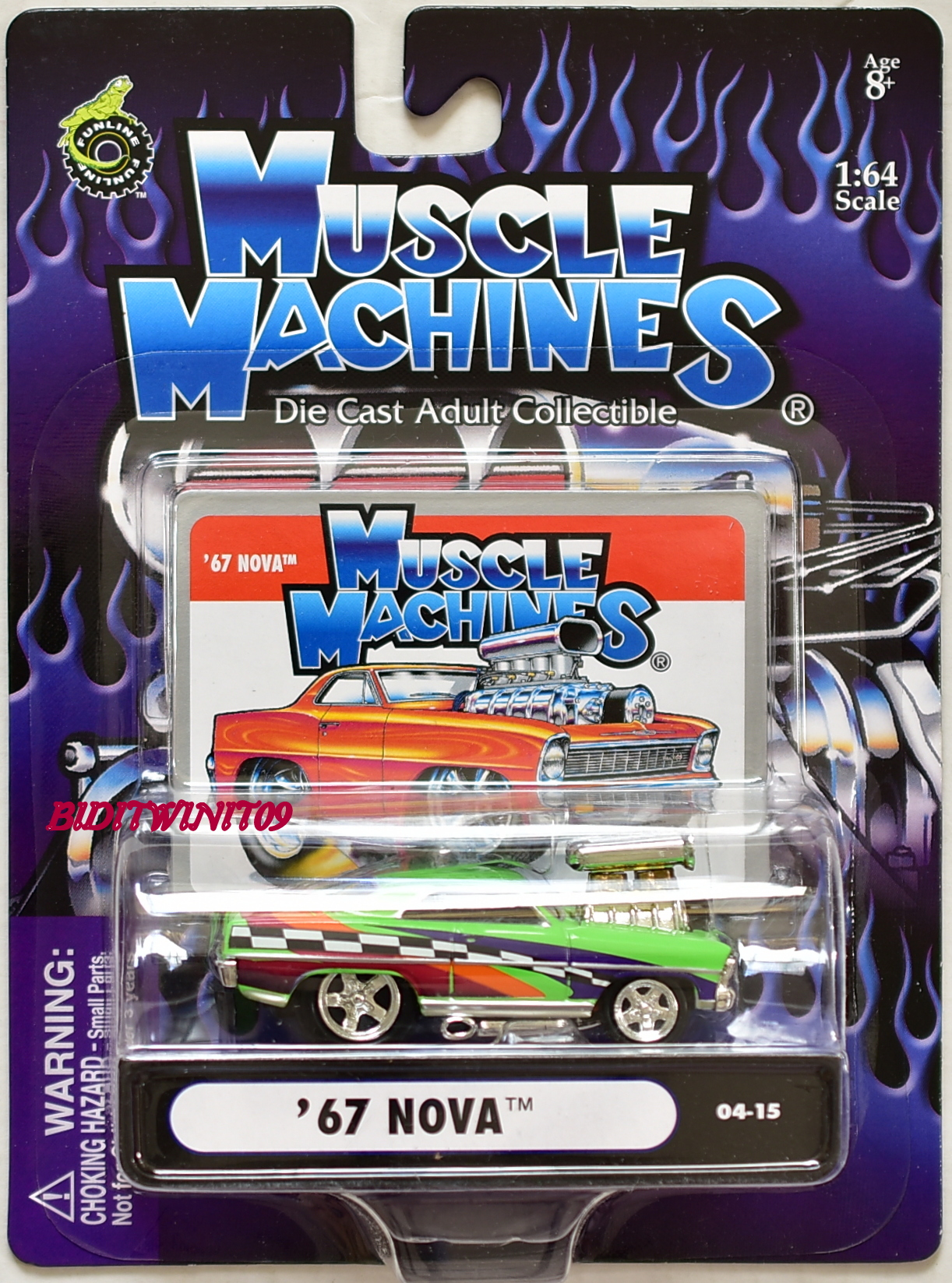 MUSCLE MACHINES '67 NOVA 04-15 GREEN SCALE 1:64