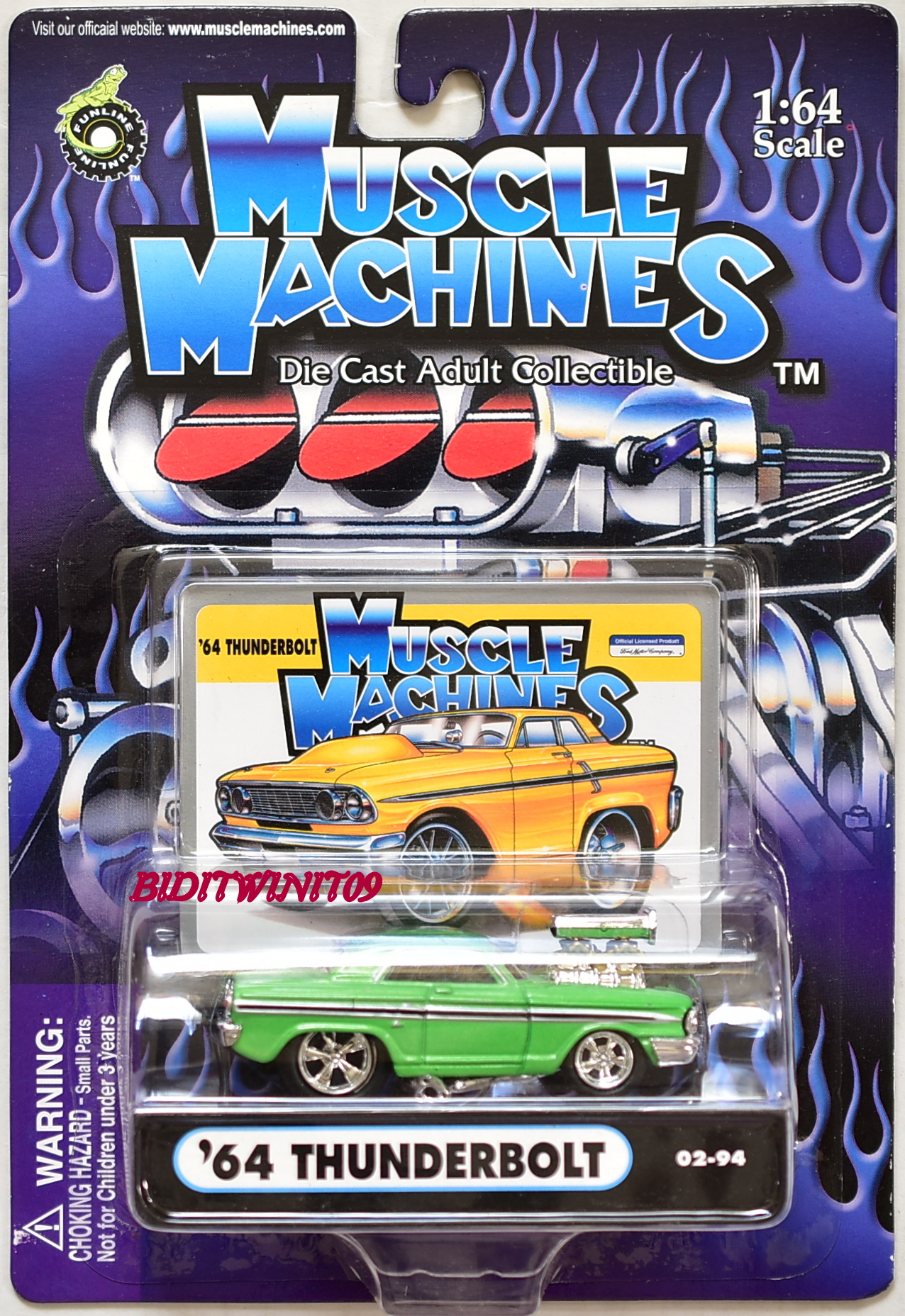 MUSCLE MACHINES '64 THUNDERBOLT 02-94 GREEN 1:64 SCALE