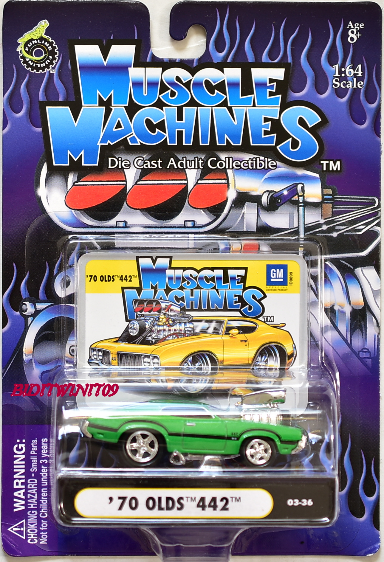 MUSCLE MACHINES '70 OLDS 442 03-36 GREEN SCALE 1:64 E+