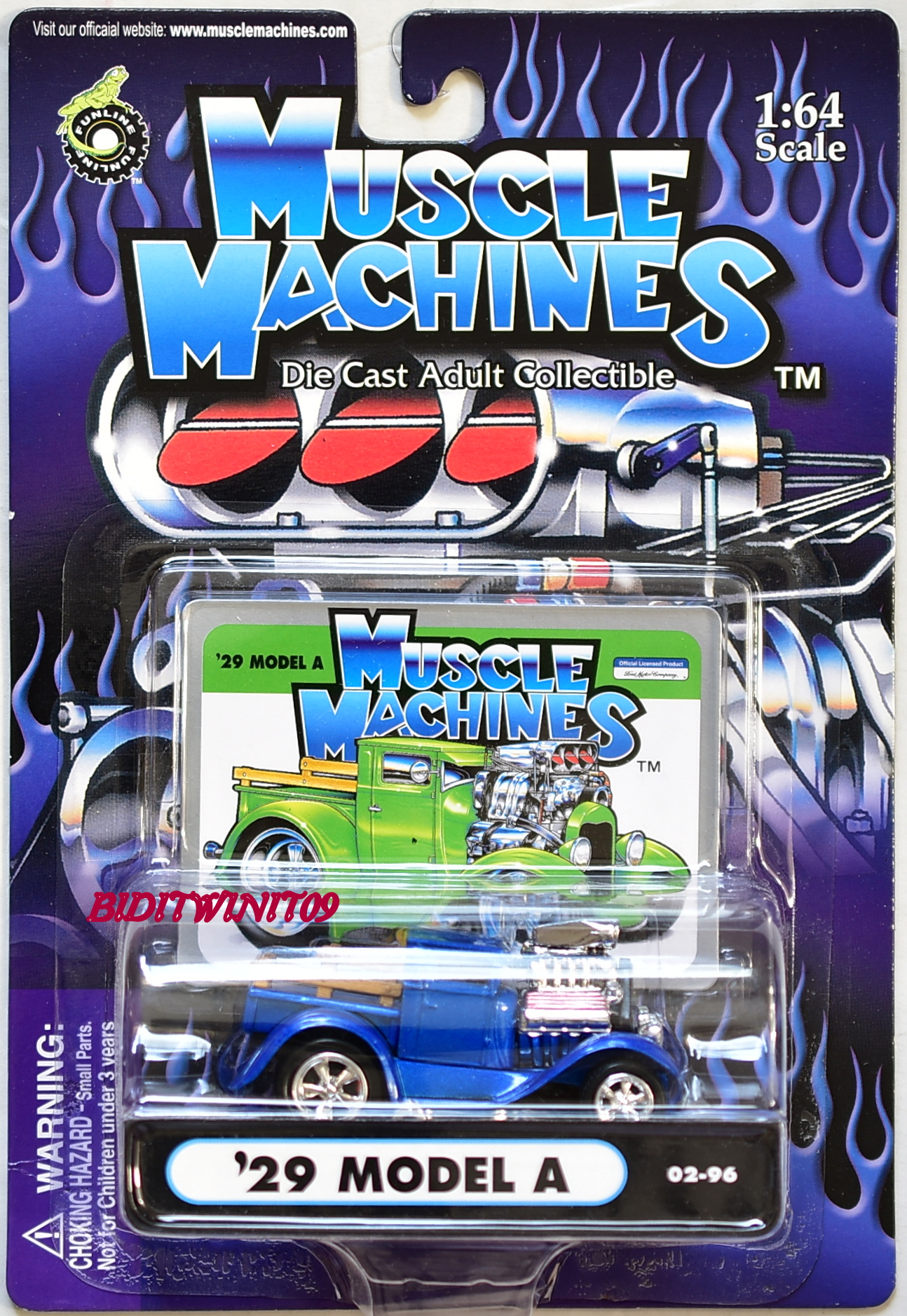 MUSCLE MACHINES '29 MODEL A 02-96 BLUE 1:64 SCALE