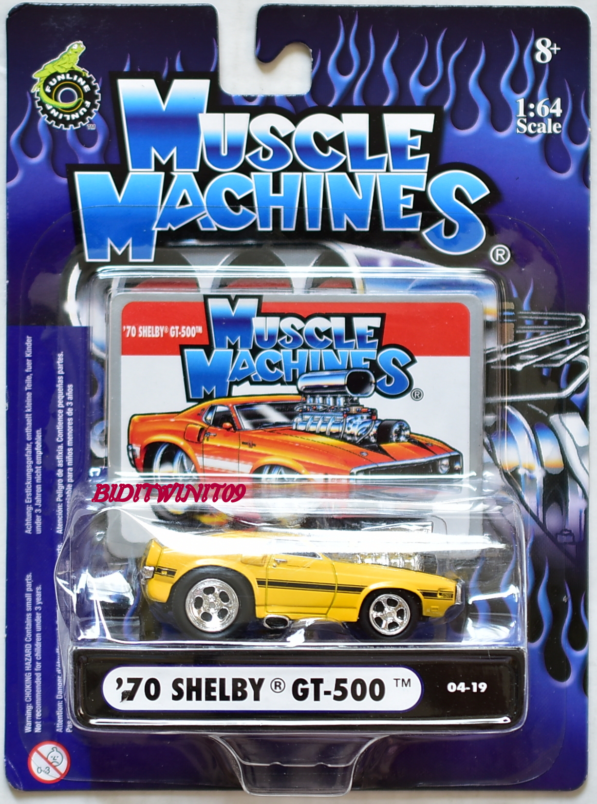 MUSCLE MACHINES '70 SHELBY GT500 04-19 YELLOW 1:64 SCALE