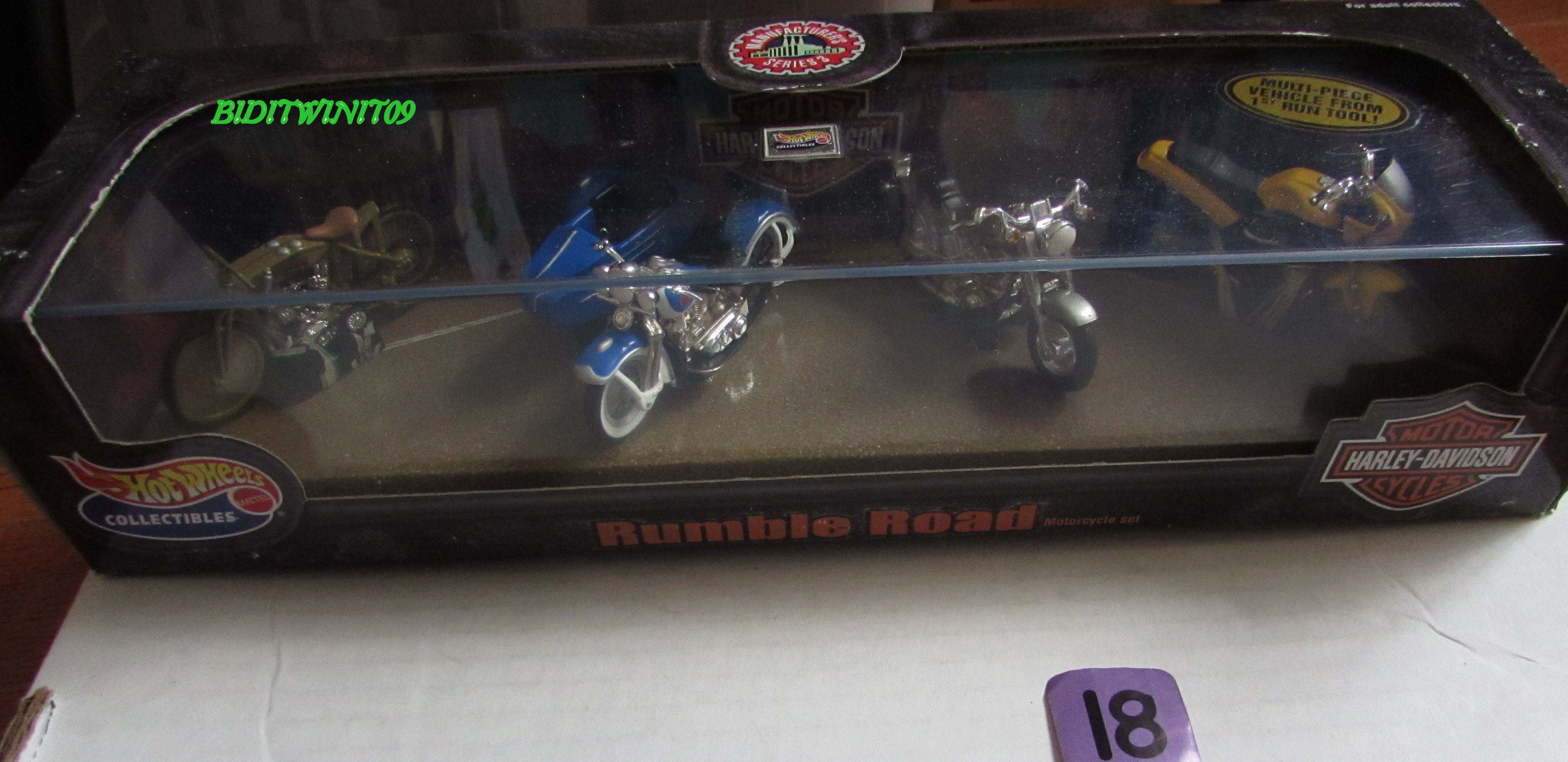 HOT WHEELS COLLECTIBLES HARLEY-DAVIDSON RUMBLE ROAD 4 MOTORCYCLE PACK E+