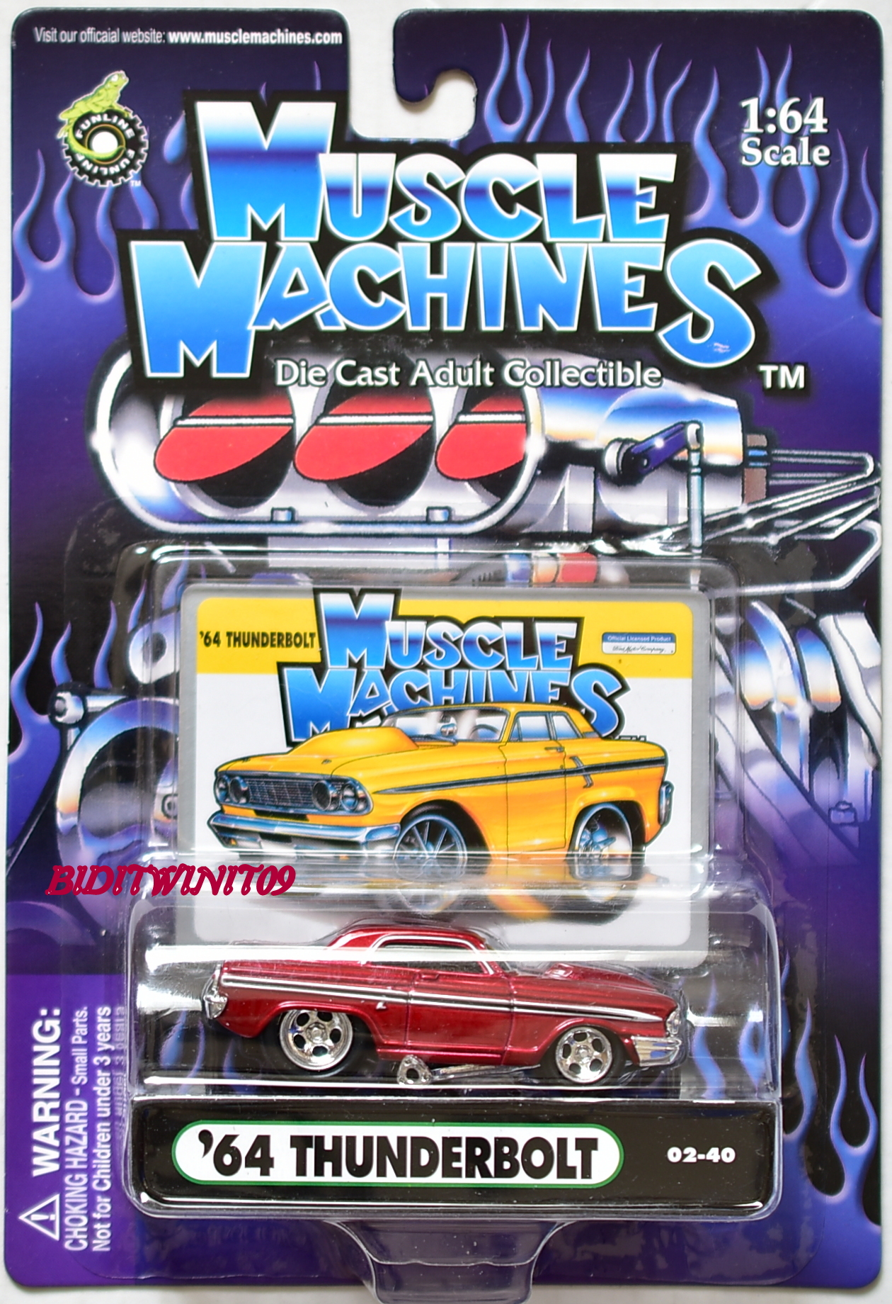 MUSCLE MACHINES '64 THUNDERBOLT 02-40 RED 1:64 SCALE E+