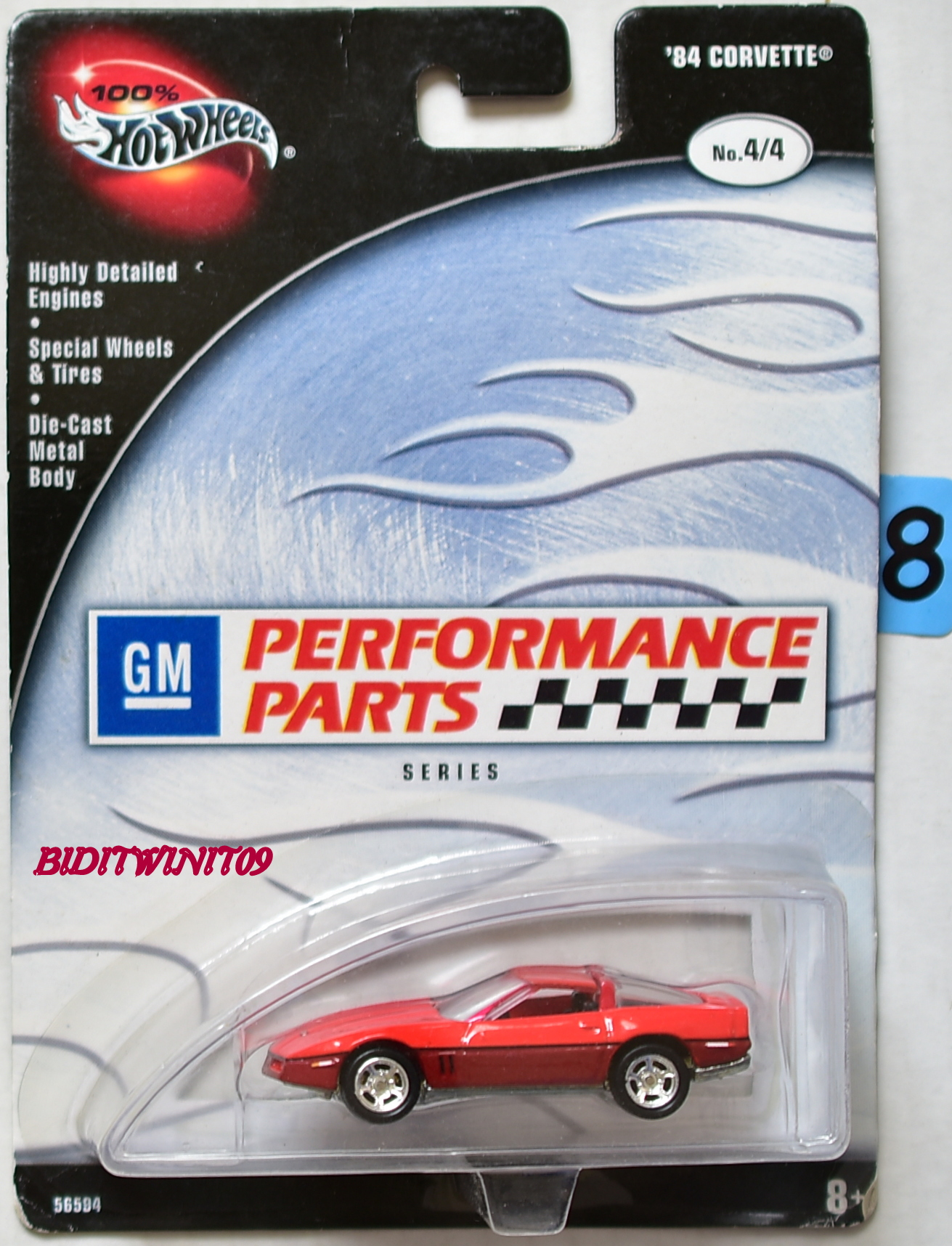 100% HOT WHEELS PERFORMANCE PARTS SERIES '84 CORVETTE #4/4 RED E+