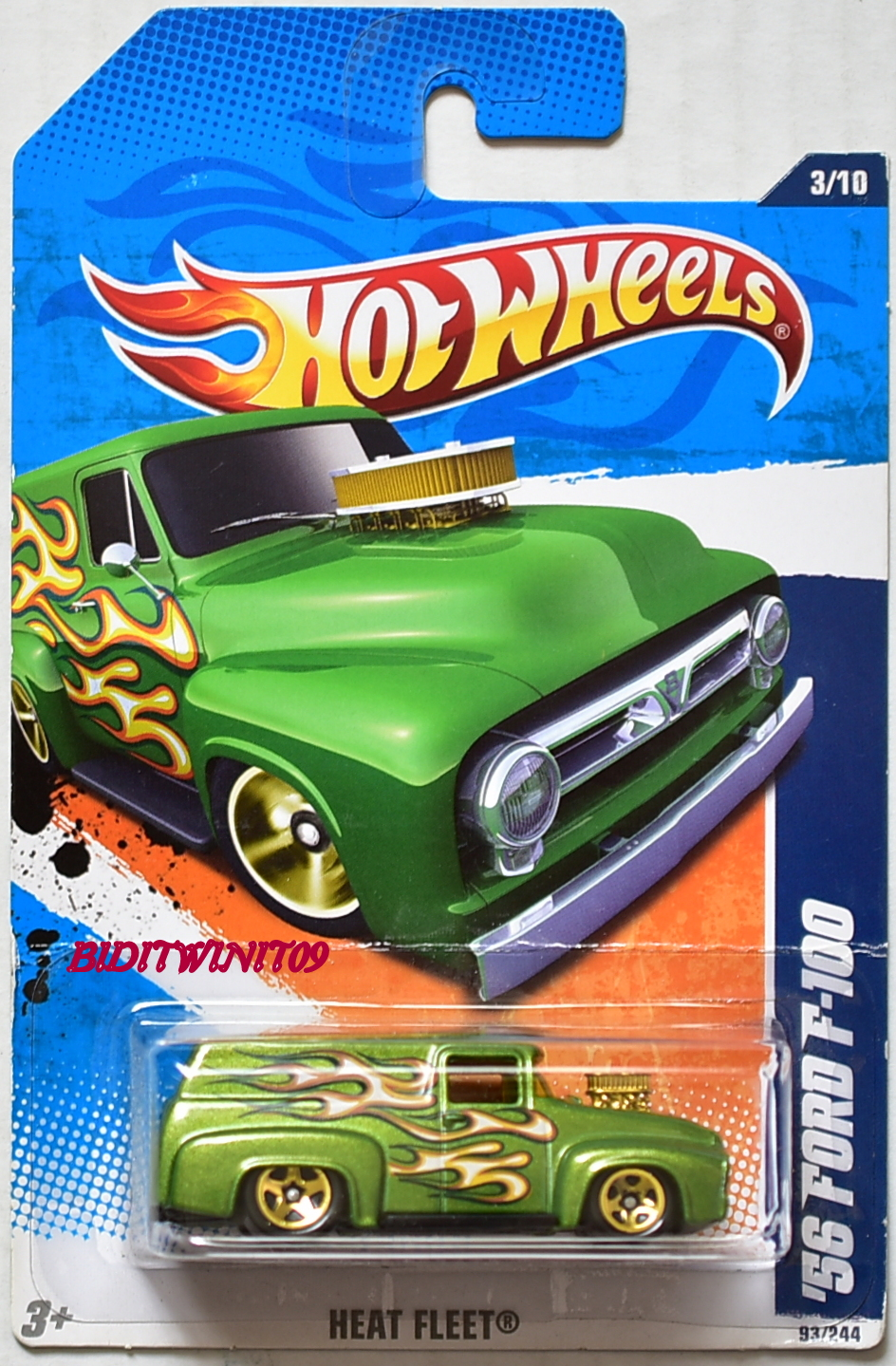 HOT WHEELS 2011 HEAT FLEET '56 FORD F-100 #3/10 GREEN - Click Image to Close