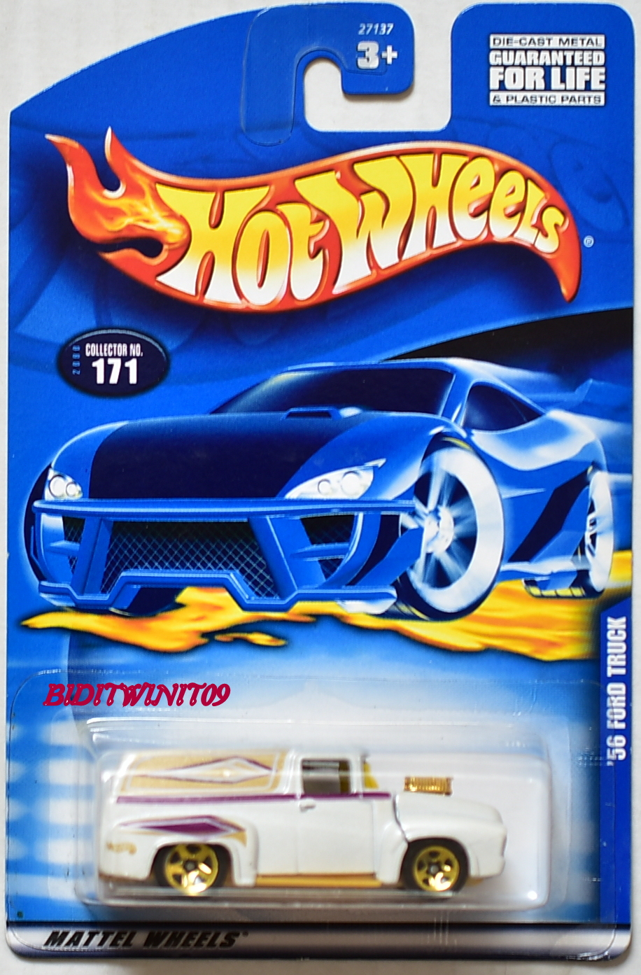 HOT WHEELS 2000 '56 FORD TRUCK #171 WHITE NEW CARD E+ - Click Image to Close
