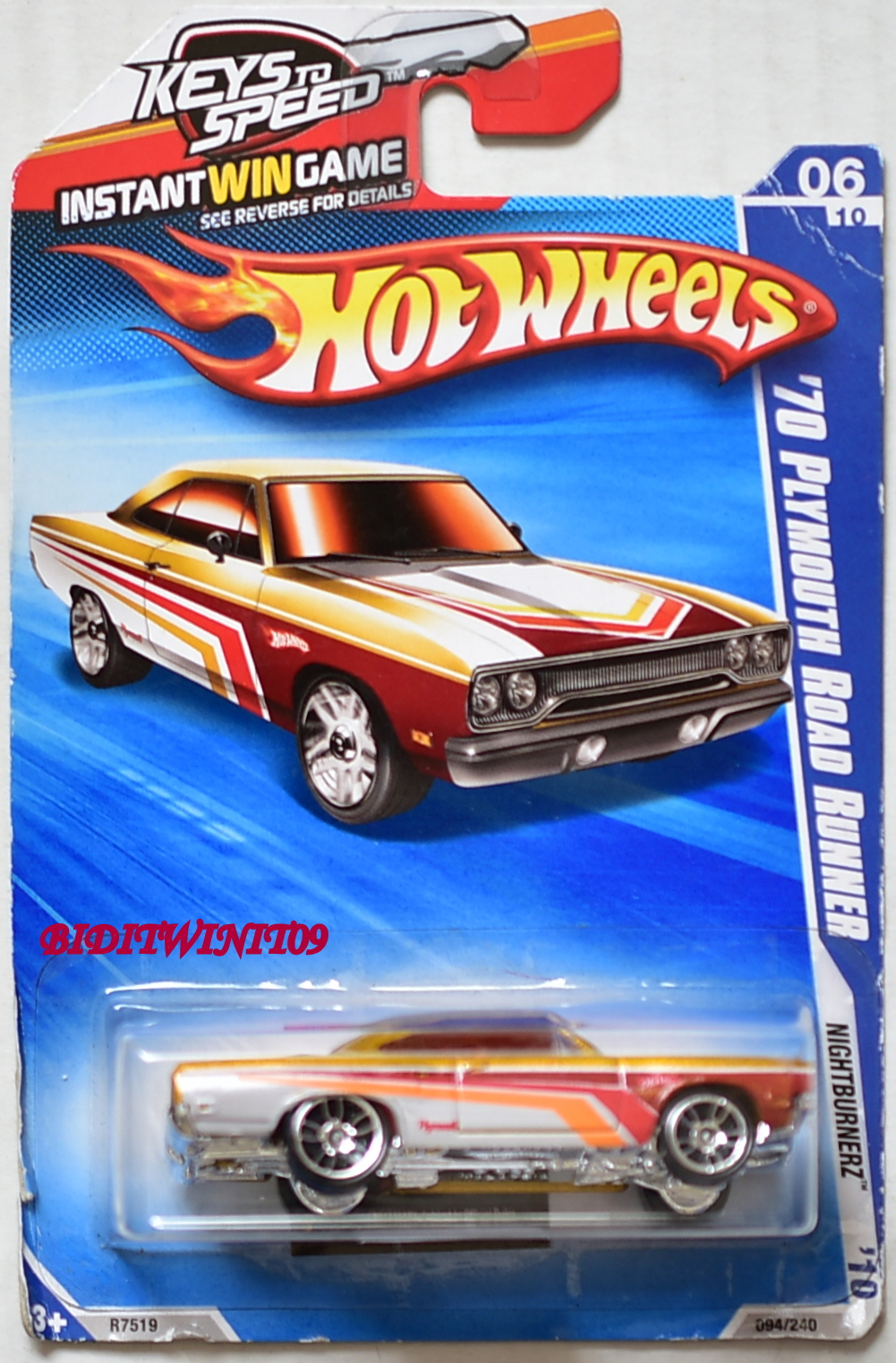 HOT WHEELS 2010 NIGHTBURNERZ '70 PLYMOUTH ROAD RUNNER YELLOW