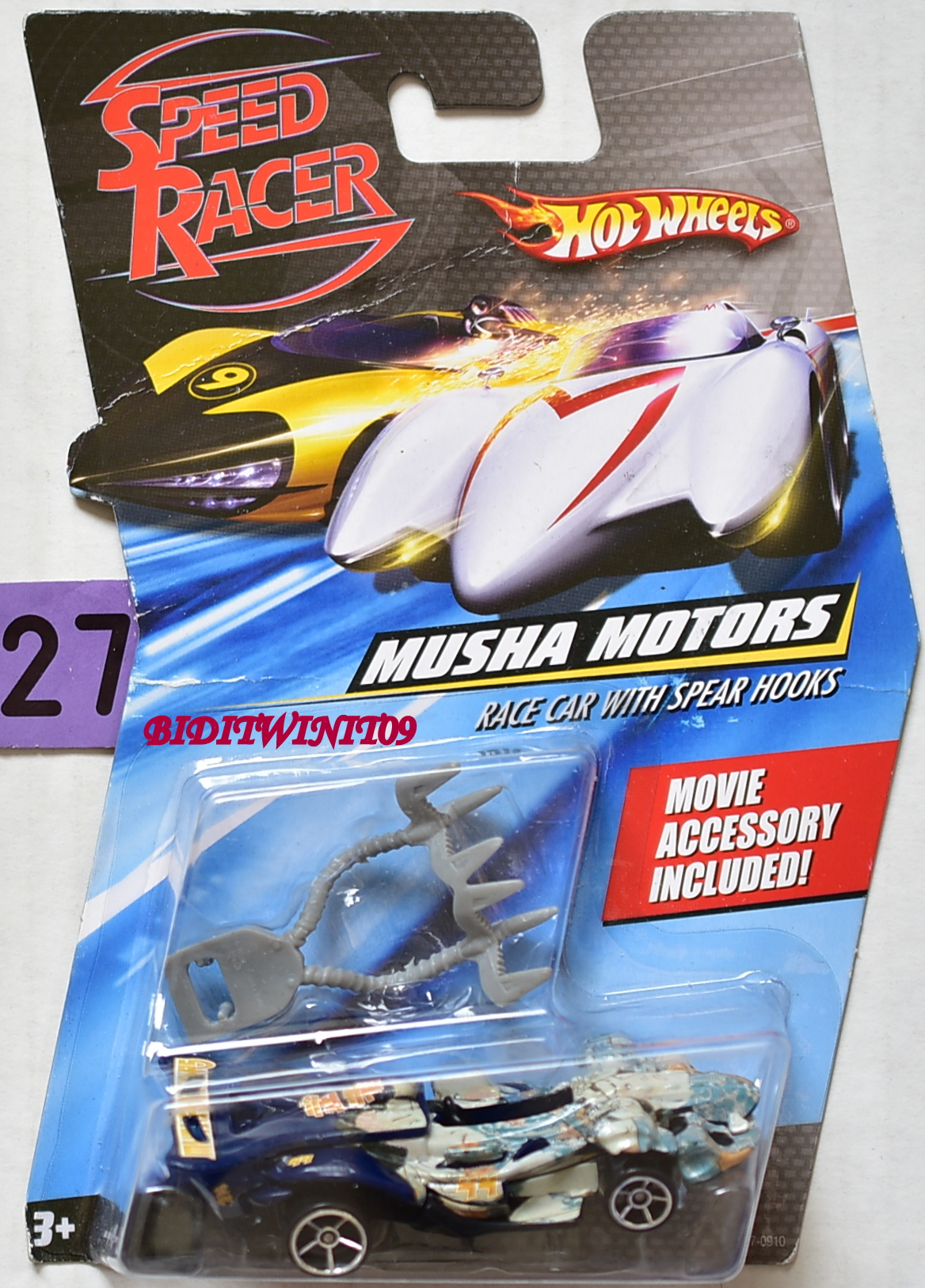 HOT WHEELS SPEED RACER MUSHA MOTORS RACE CAR WITH SPEAR HOOKS