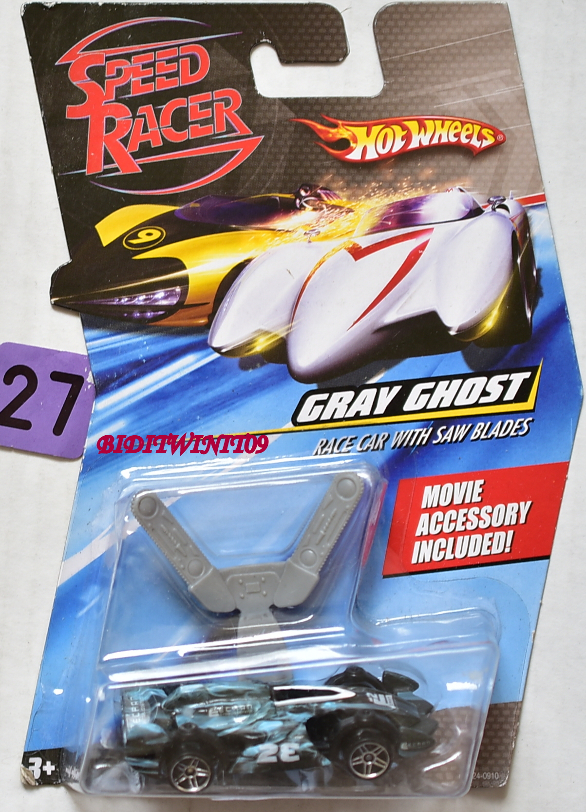 HOT WHEELS SPEED RACER GRAY SHOST RACE CAR WITH SAW BLADES E+