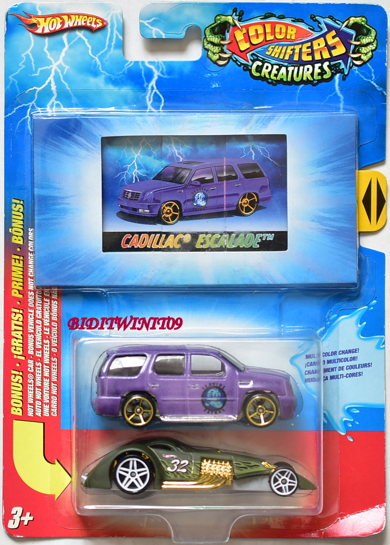 HOT WHEELS COLOR SHIFTERS CREATURES CADILLAC ESCALADE HAMMERED 2 CAR PACK E+