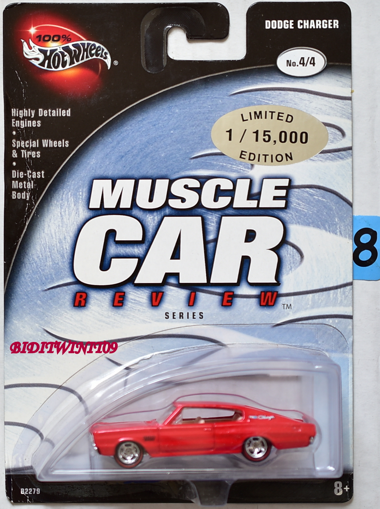 100% HOT WHEELS MUSCLE CAR REVIEW DODGE CHARGER #4/4 RED E+