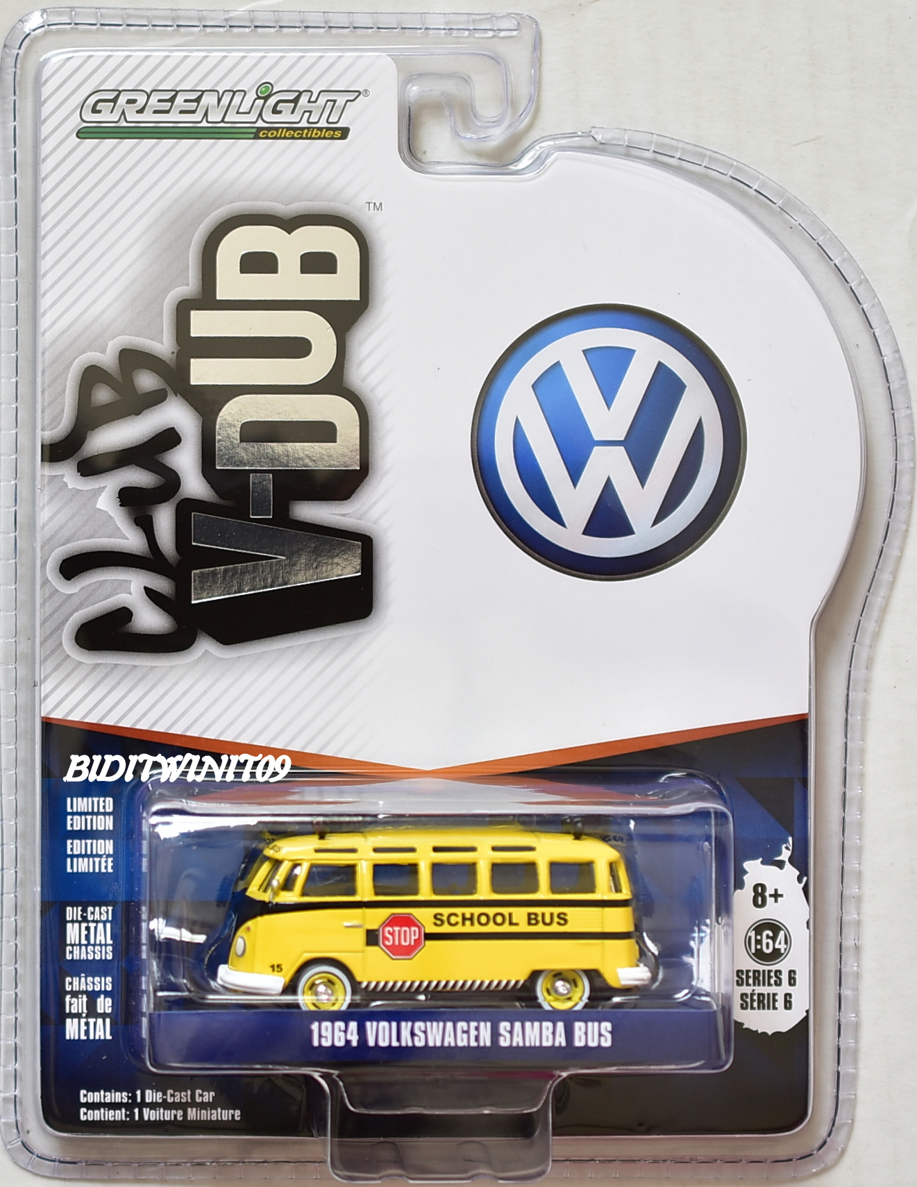 GREENLIGHT CLUB V-DUB SERIES 6 1:64 SCALE 1964 VOLKSWAGEN SAMBA BUS YELLOW