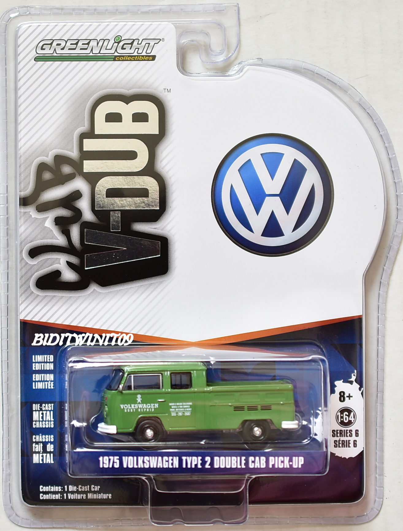 GREENLIGHT CLUB V-DUB 2018 SERIES 6 1975 VOLKSWAGEN TYPE 2 DOUBLE CAB PICK-UP