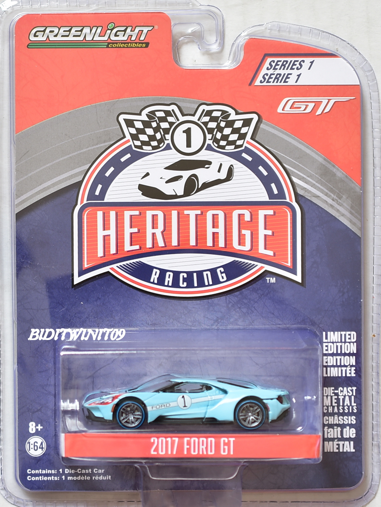 GREENLIGHT HERITAGE RACING SERIES 1 2017 FORD GT LIGHT BLUE