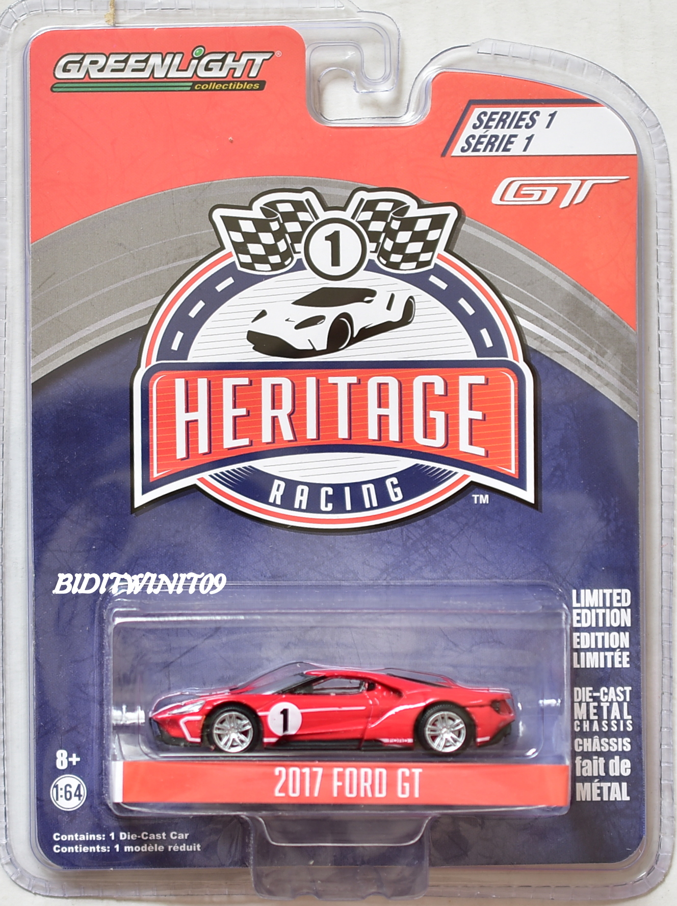 GREENLIGHT HERITAGE RACING SERIES 1 2017 FORD GT RED