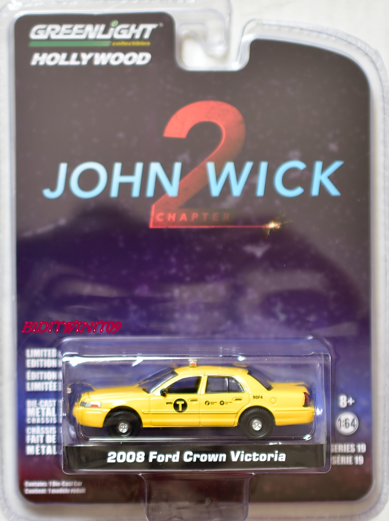 GREENLIGHT HOLLYWOOD JOHN WICK 2 SERIES 19 2008 FORD CROWN VICTORIA 1:64 YELLOW