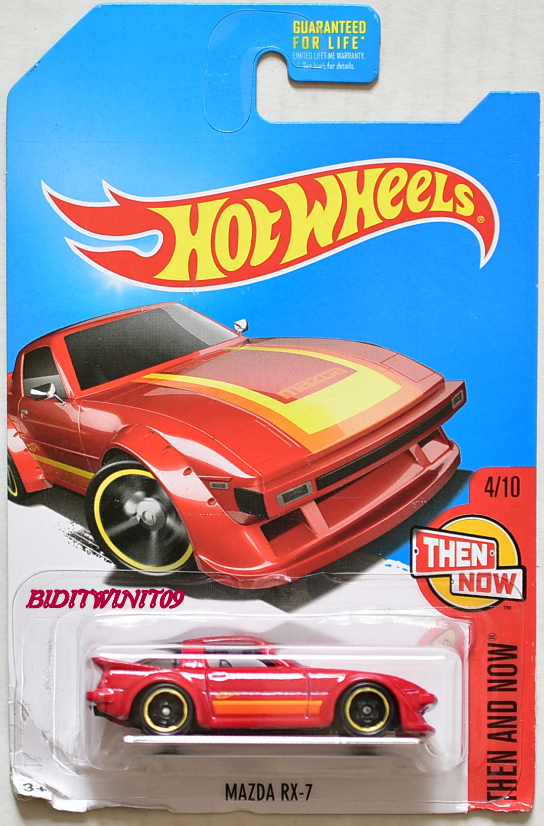 HOT WHEELS 2017 THEN AND NOW MAZDA RX-7 #4/10 KMART RED BAR CARD