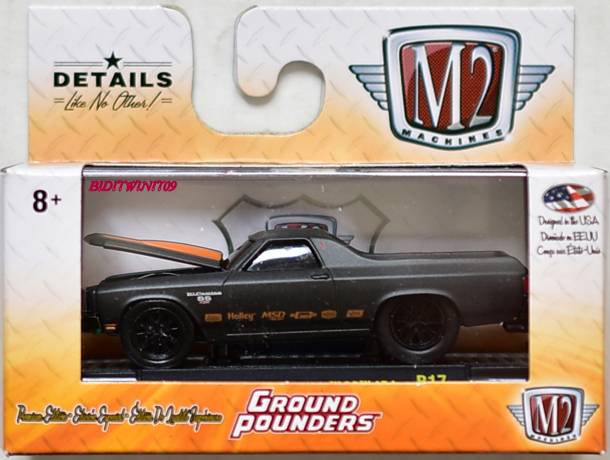 M2 MACHINES 2018 GROUND POUNDERS 1970 CHEVROLET EL CAMINO SS 454 R17 BLACK