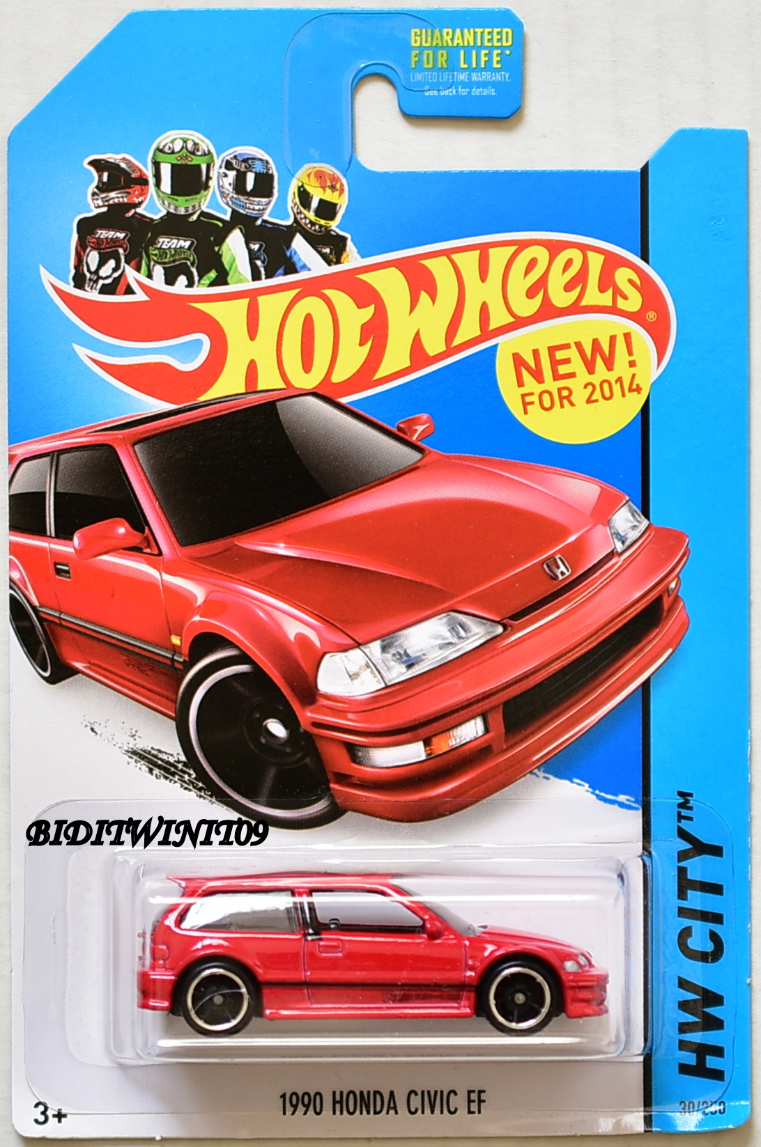 HOT WHEELS 2014 NIGHT BURNERZ 1990 HONDA CIVIC EF RED