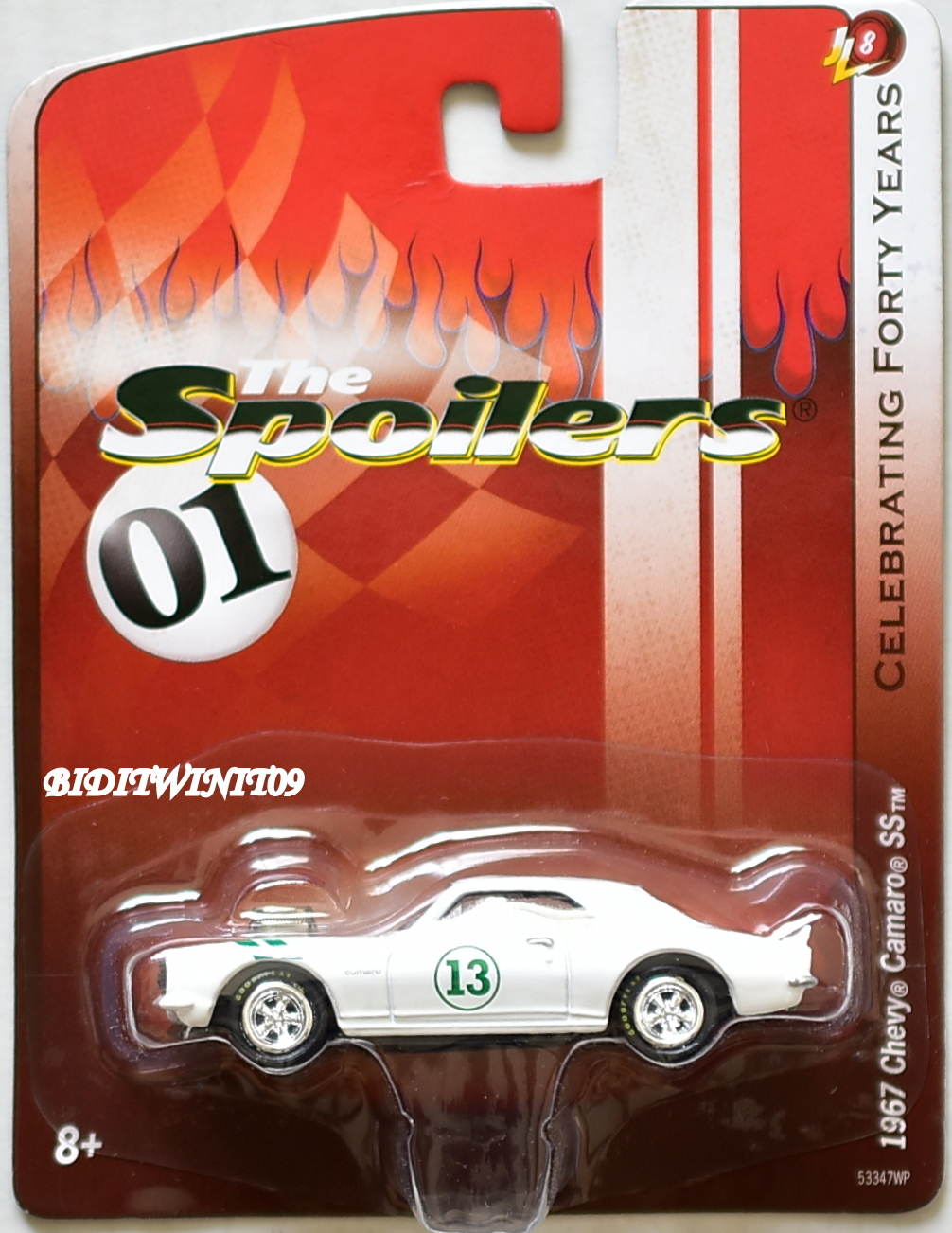 JOHNNY LIGHTNING THE SPOILERS 01 1967 CHEVY CAMARO SS JL8 WHITE E+