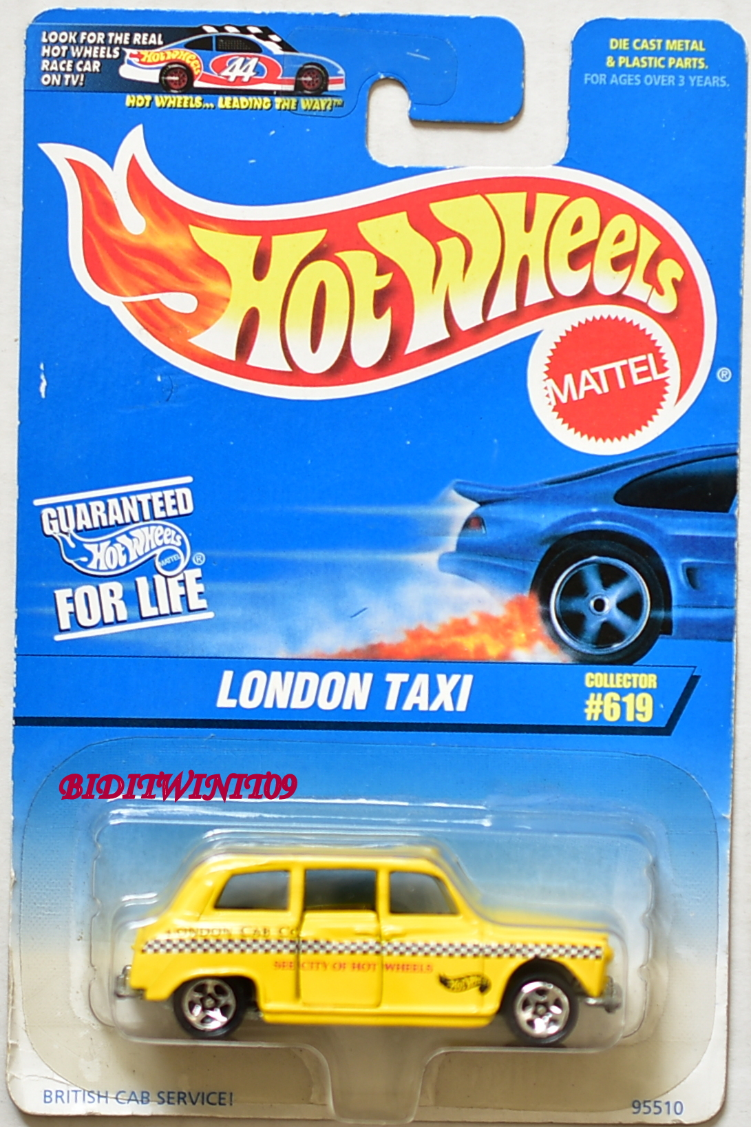 HOT WHEELS 1997 LONDON TAXI COLLECT. #619 YELLOW LONDON CAB