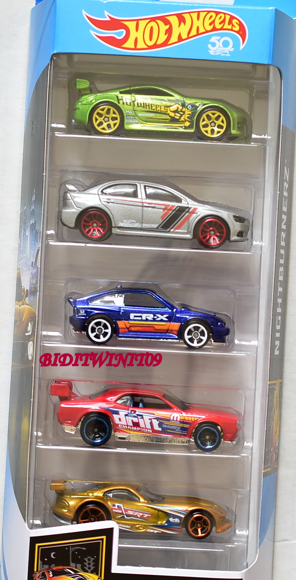 HOT WHEELS 2018 5 PACK NIGHTBURNERZ NISSAN LANCER EVOLUTION HONDA DODGE VIPER E+