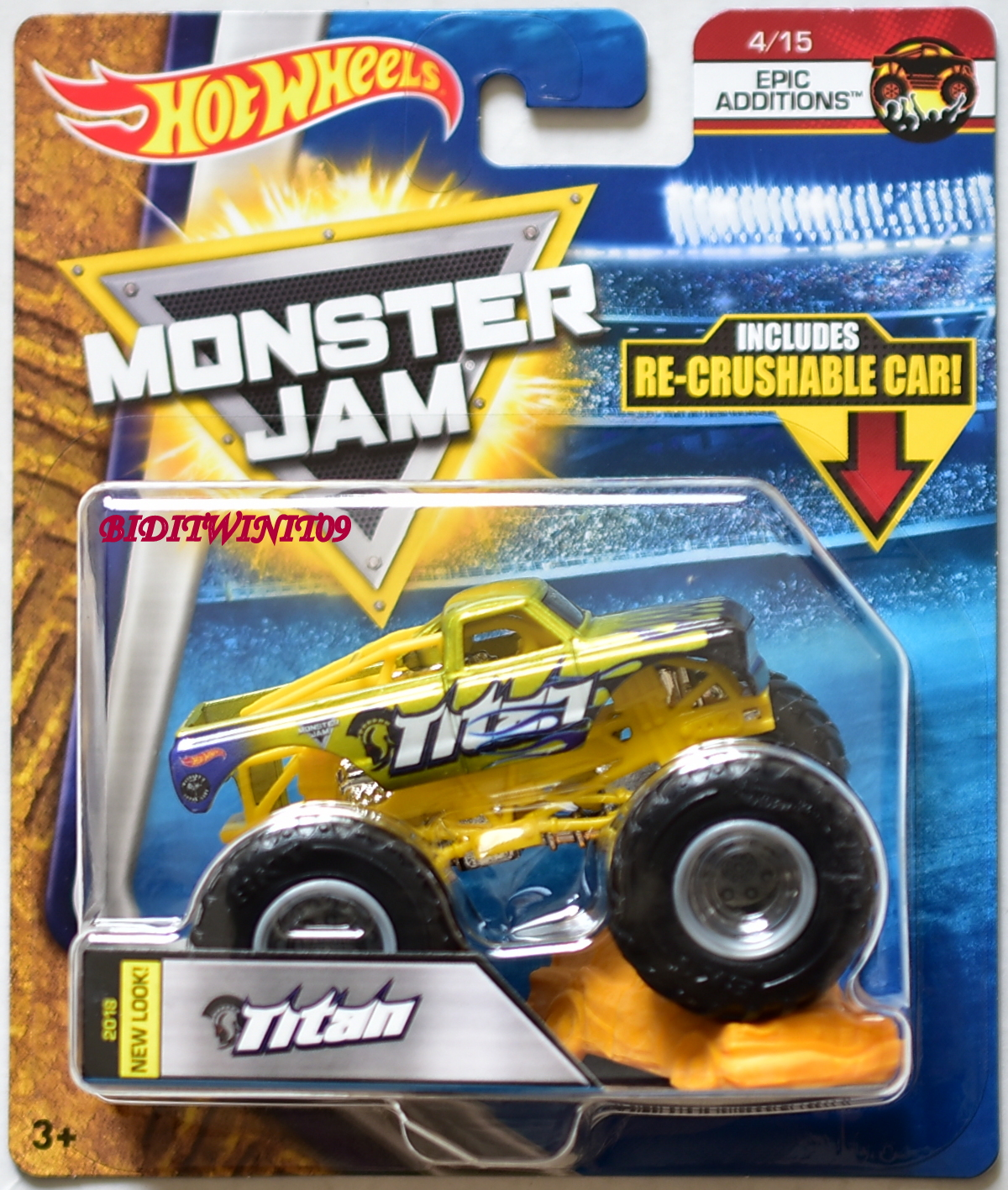 HOT WHEELS 2018 MONSTER JAM EPIC ADDITIONS RE-CRUSHABLE CAR TITAN #4/15
